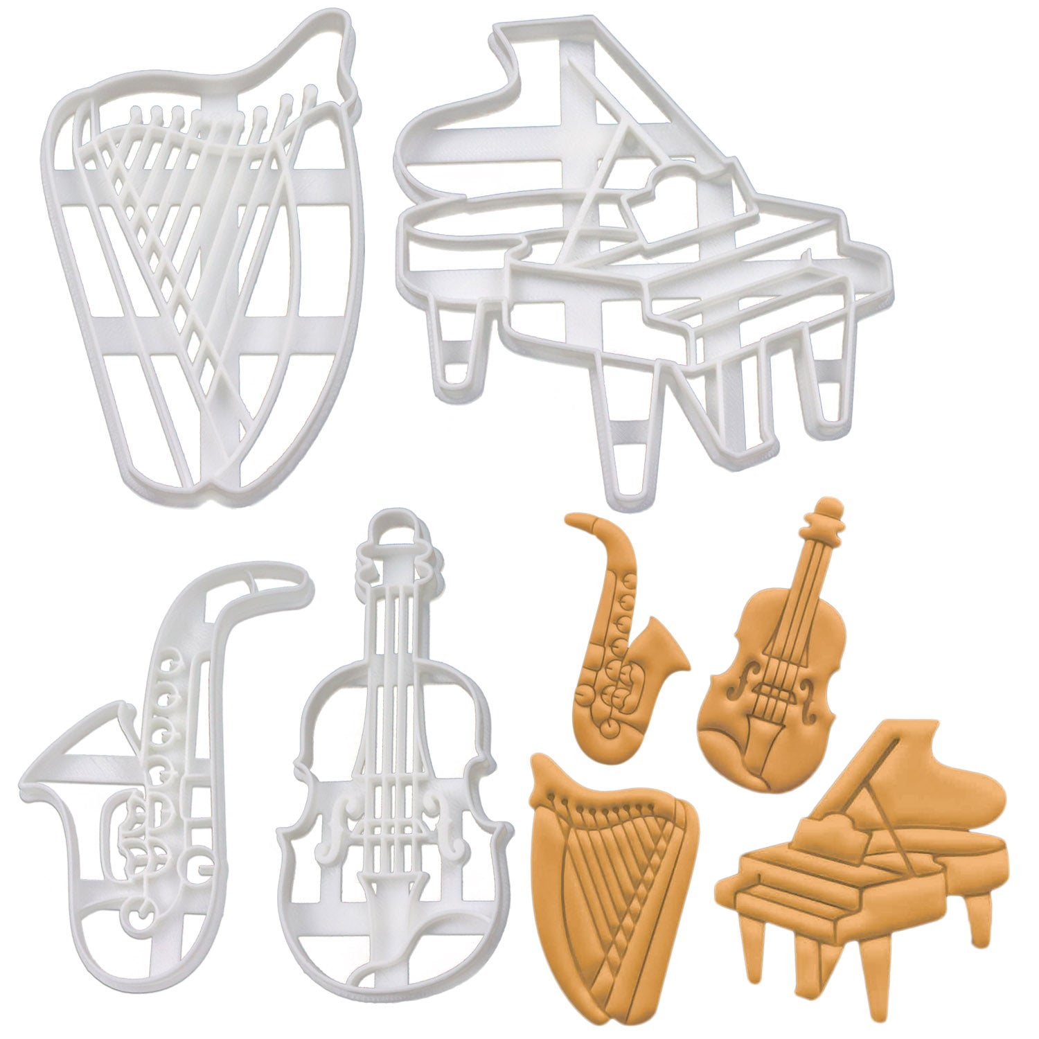 Set of 4 Cookie Cutters: Harp, Piano, Saxophone, Violin
