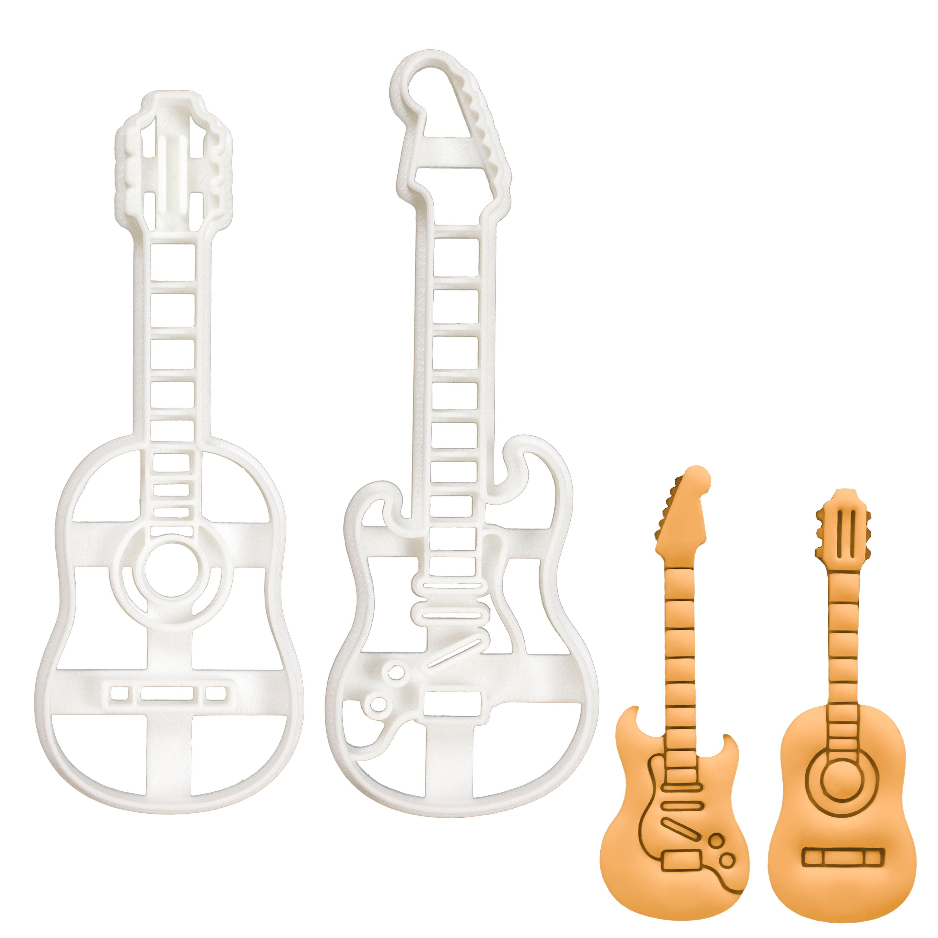 Acoustic guitar and Electric Guitar Cookie Cutters