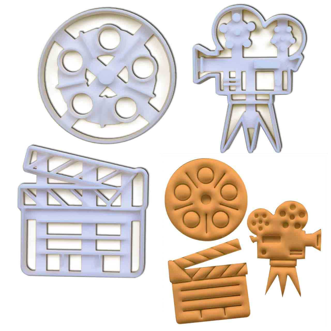Set of 3 Cookie Cutters: Director's Clapboard, Video Camera