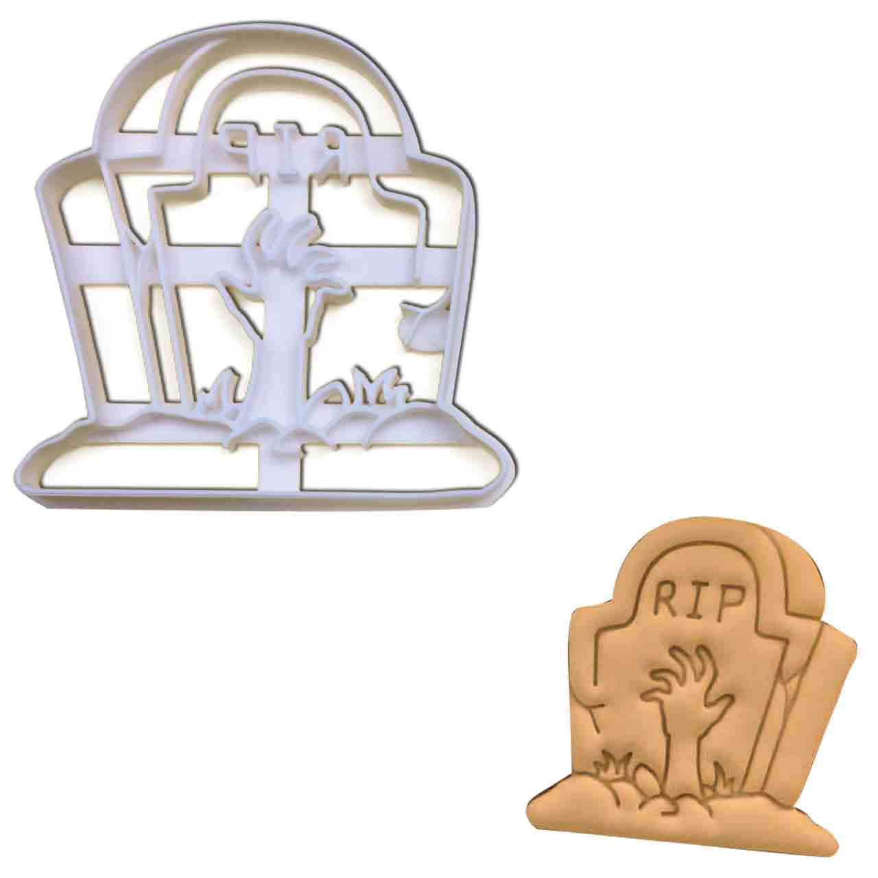 zombie tombstone cookie cutter pressed on fondant