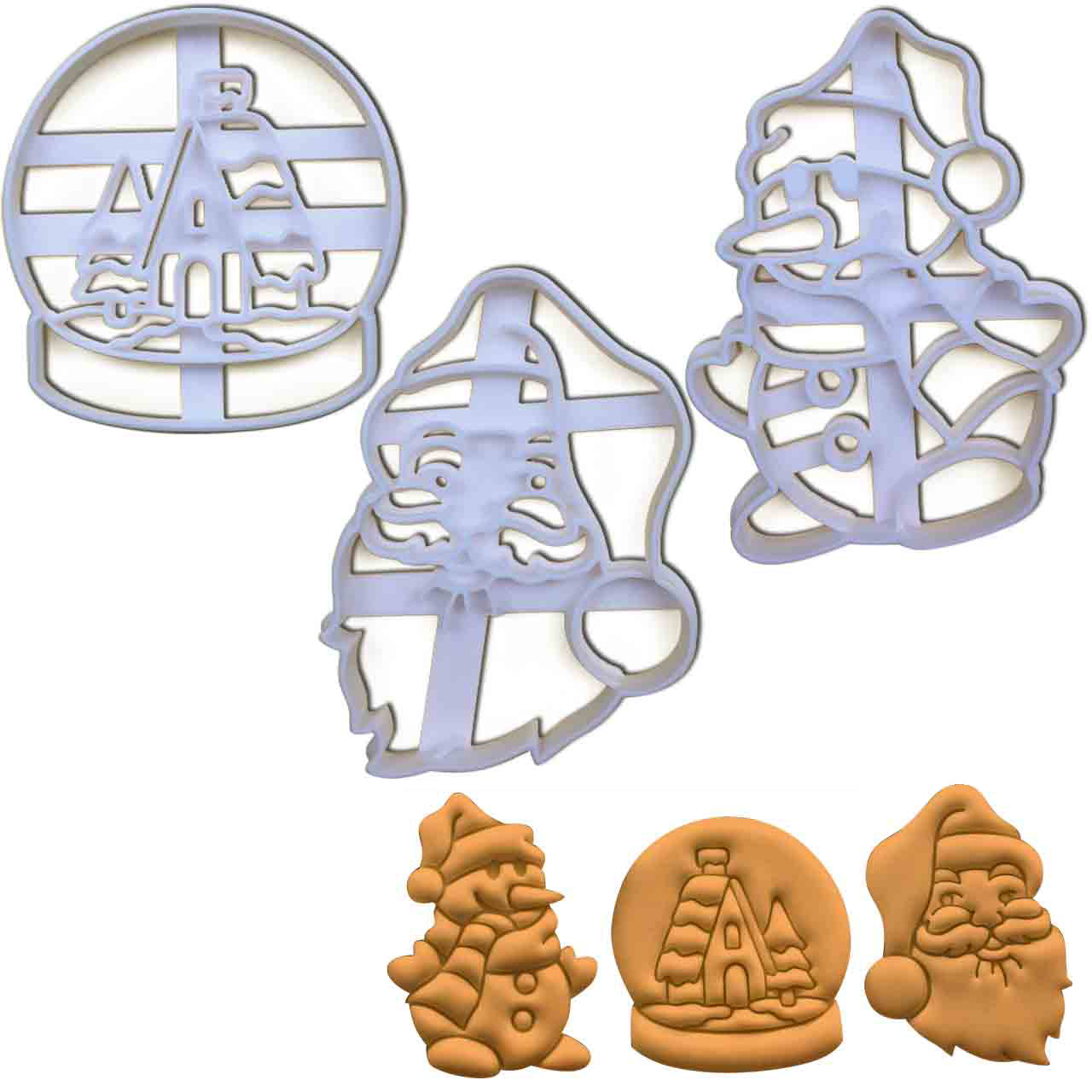 set of 3 santa claus, snowman and snow globe christmas cookie cutters