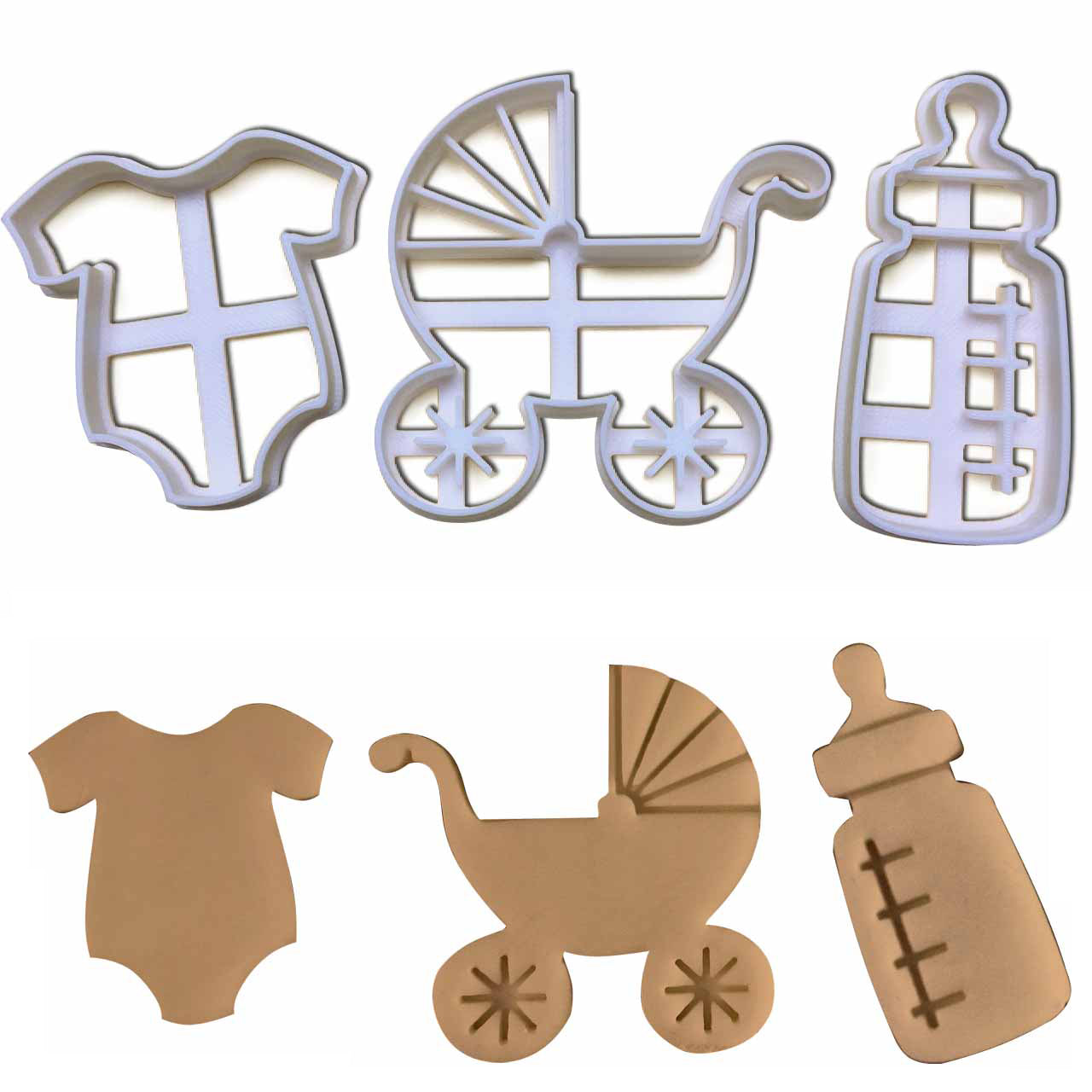 set of 3 baby shower cookie cutters: Baby pram, baby bottle, and baby clothes cookie cutters