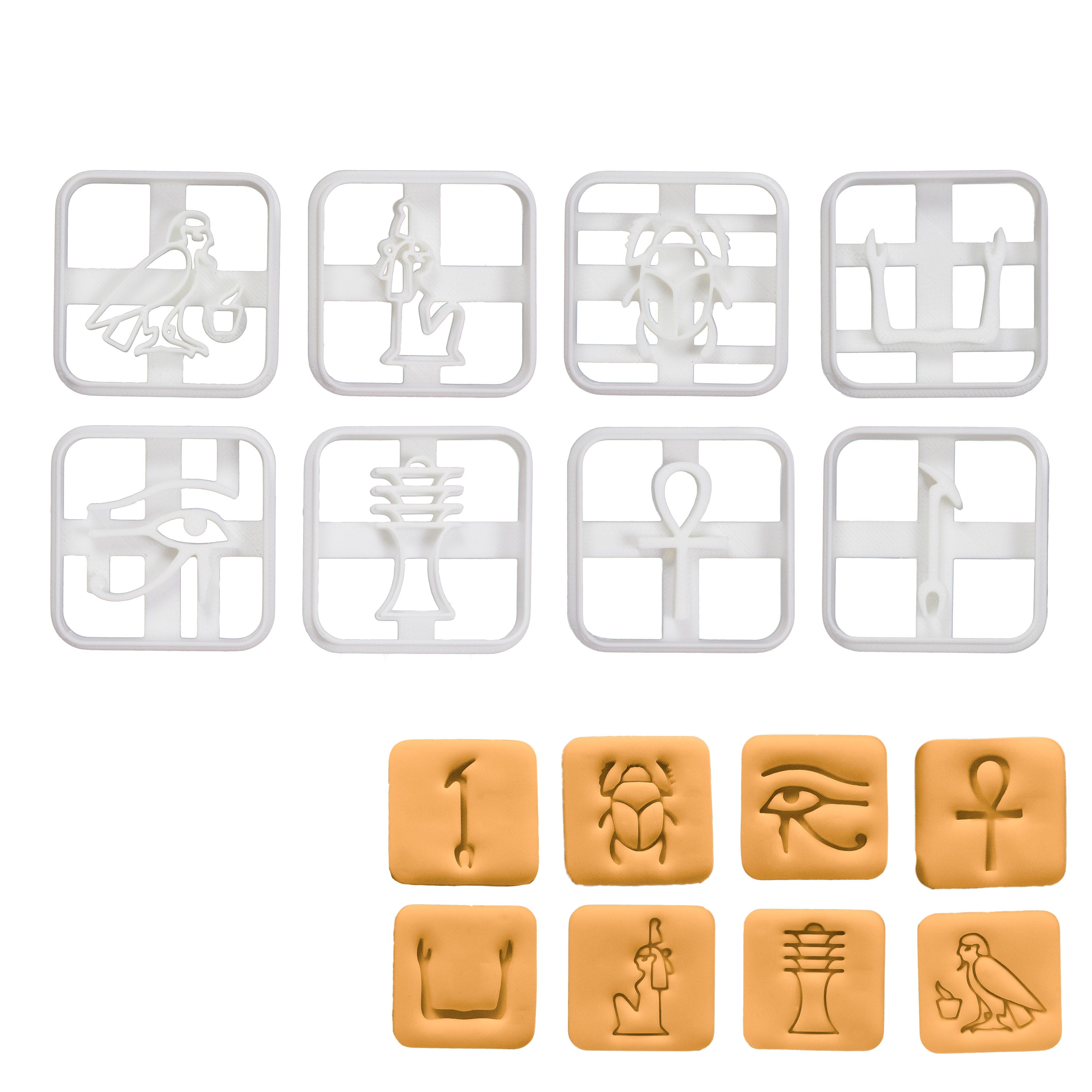Set of 8 Egyptian Hieroglyphs Cookie Cutters