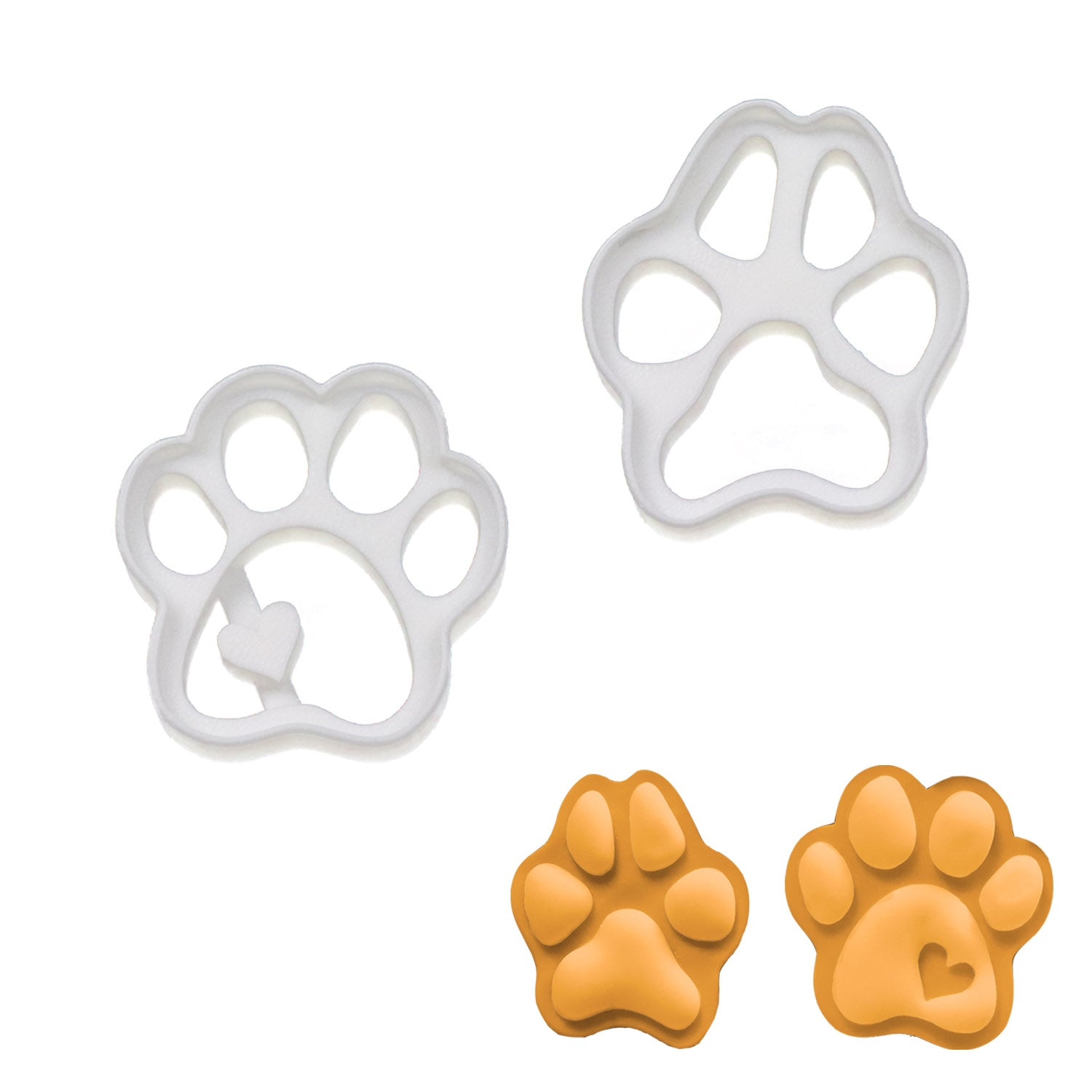 Small cute and realistic dog paw cookie cutters