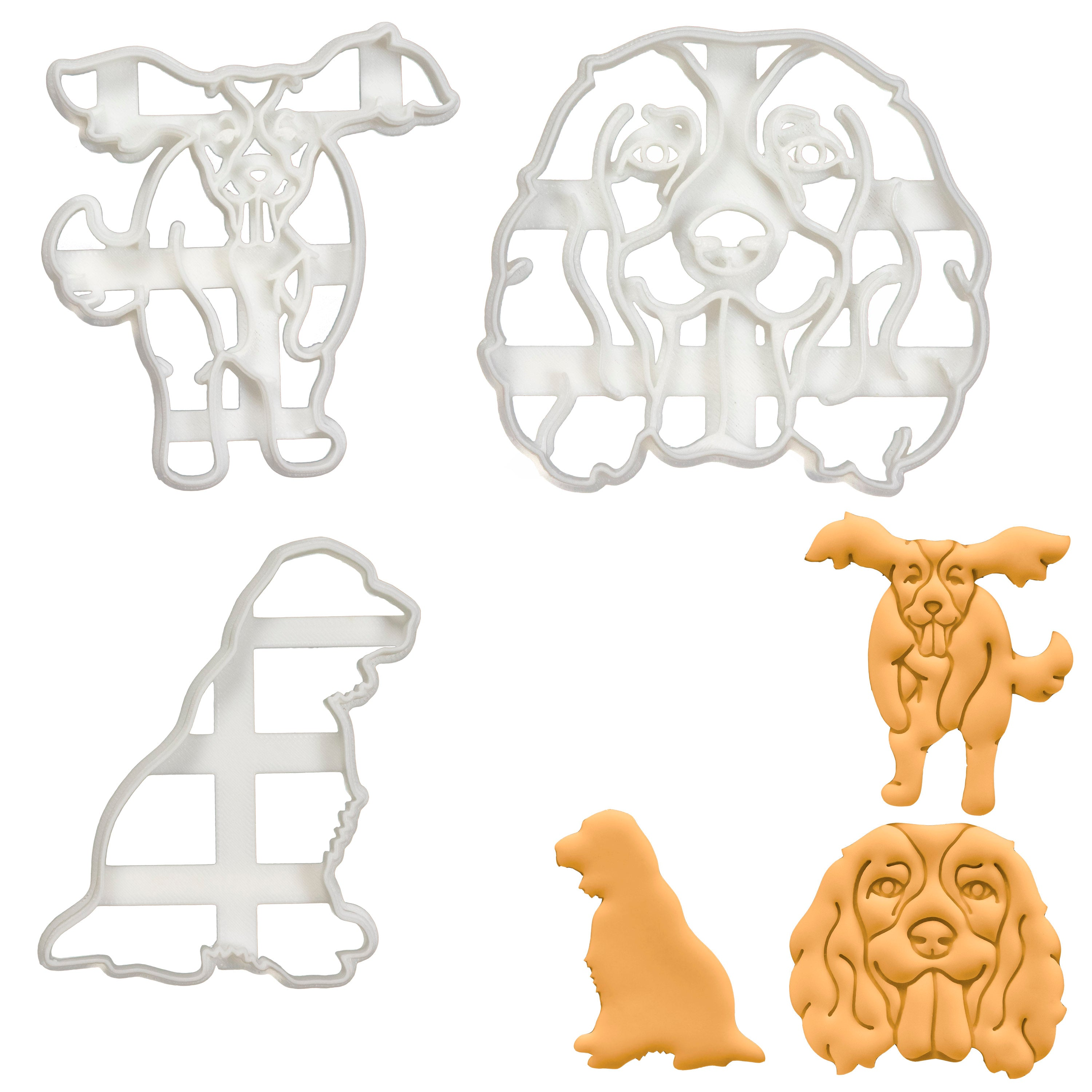 Set of 3 English Springer Spaniel Cookie Cutters: Face, Jumping & Outline