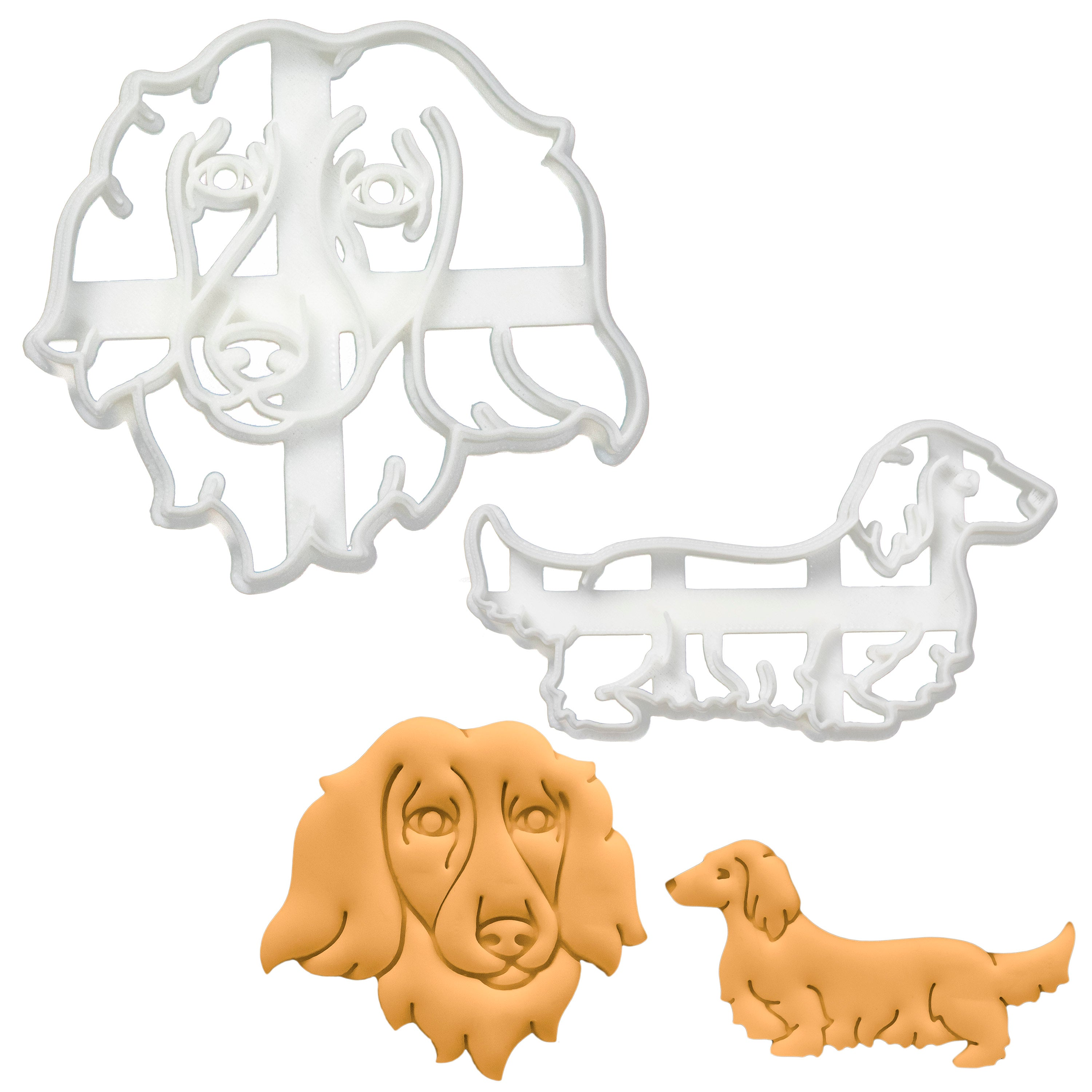 set of 2 long haired dachshund cookie cutters