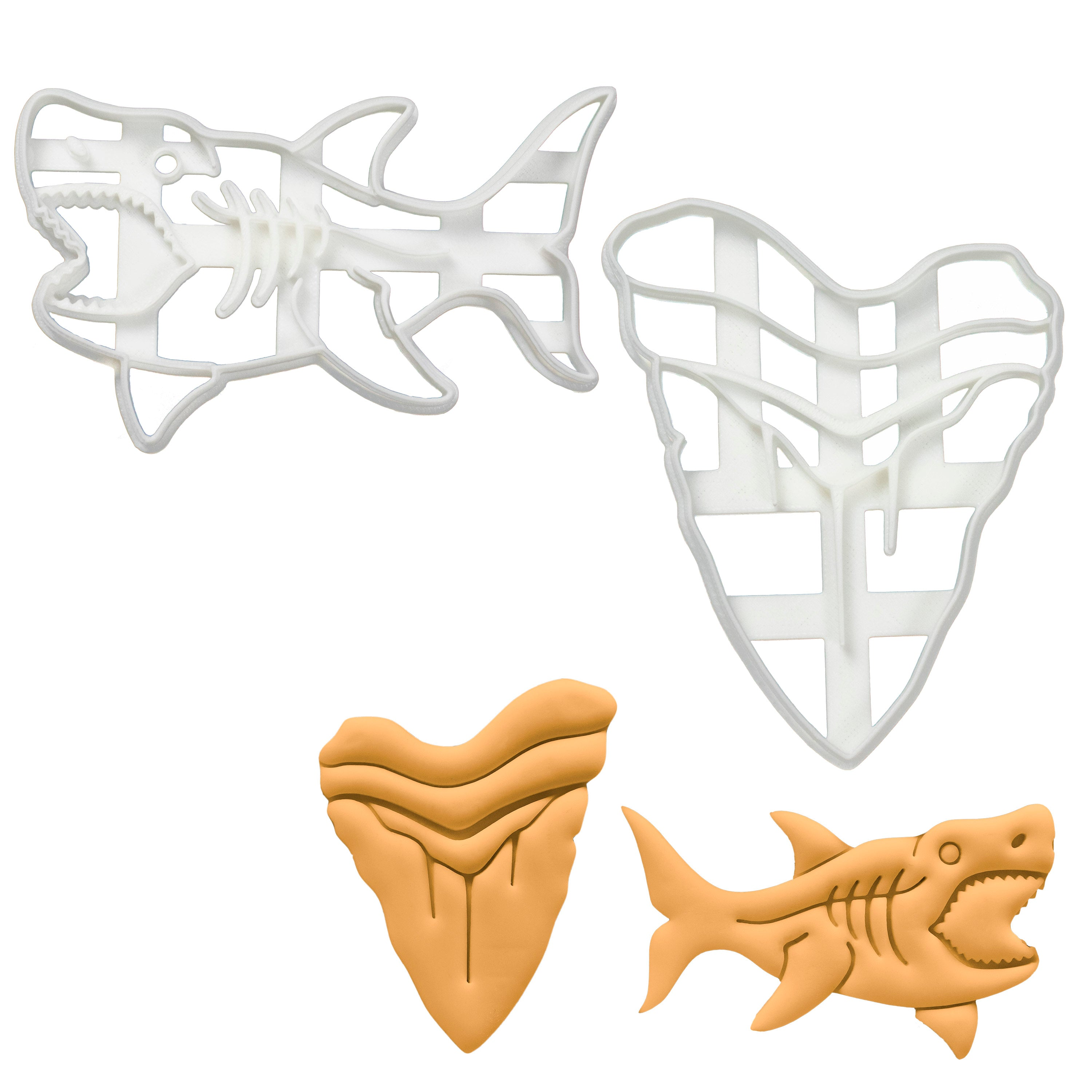 Set of 2 Cookie Cutters: Megalodon Shark & Megalodon Tooth