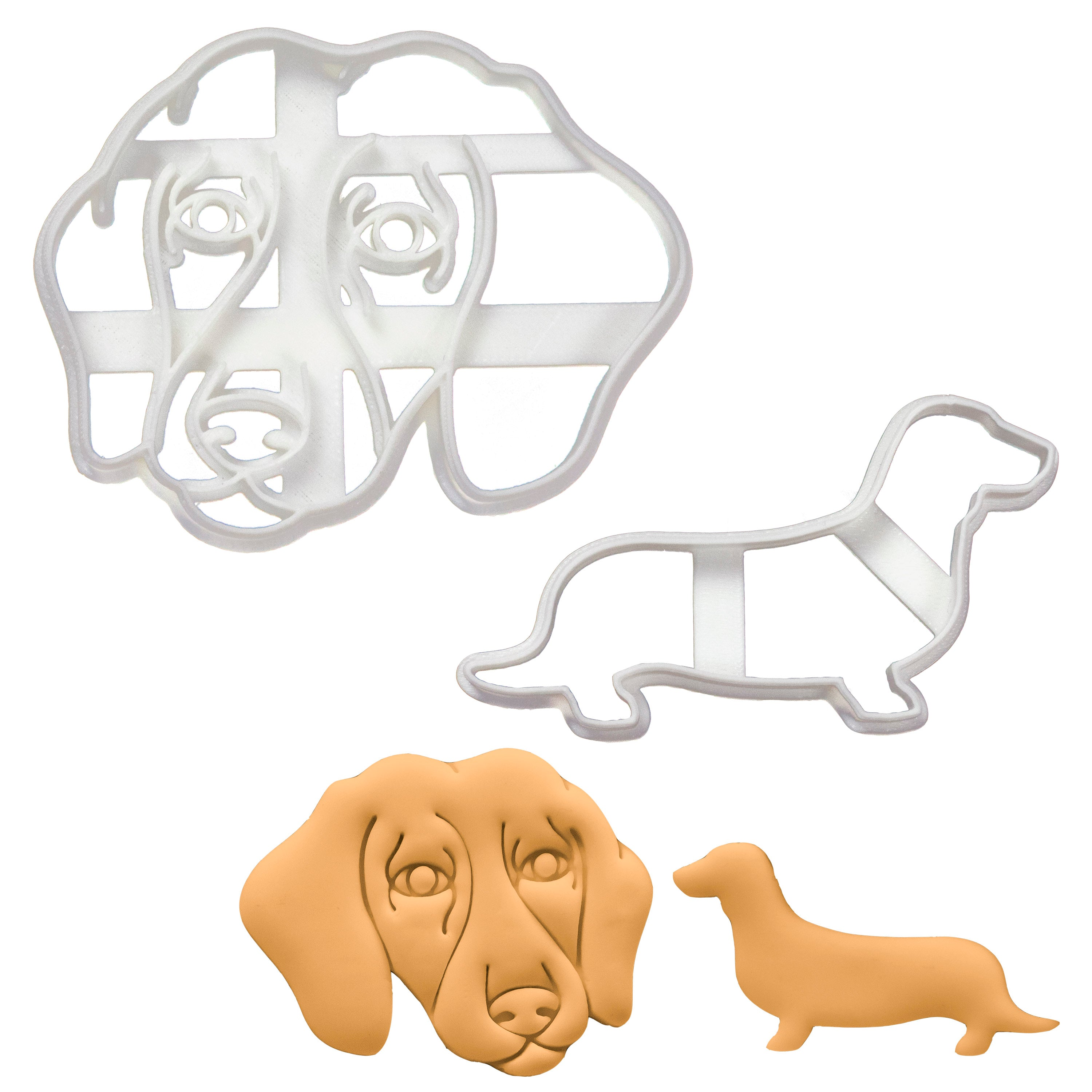 short haired dachshund face and silhouette cookie cutters