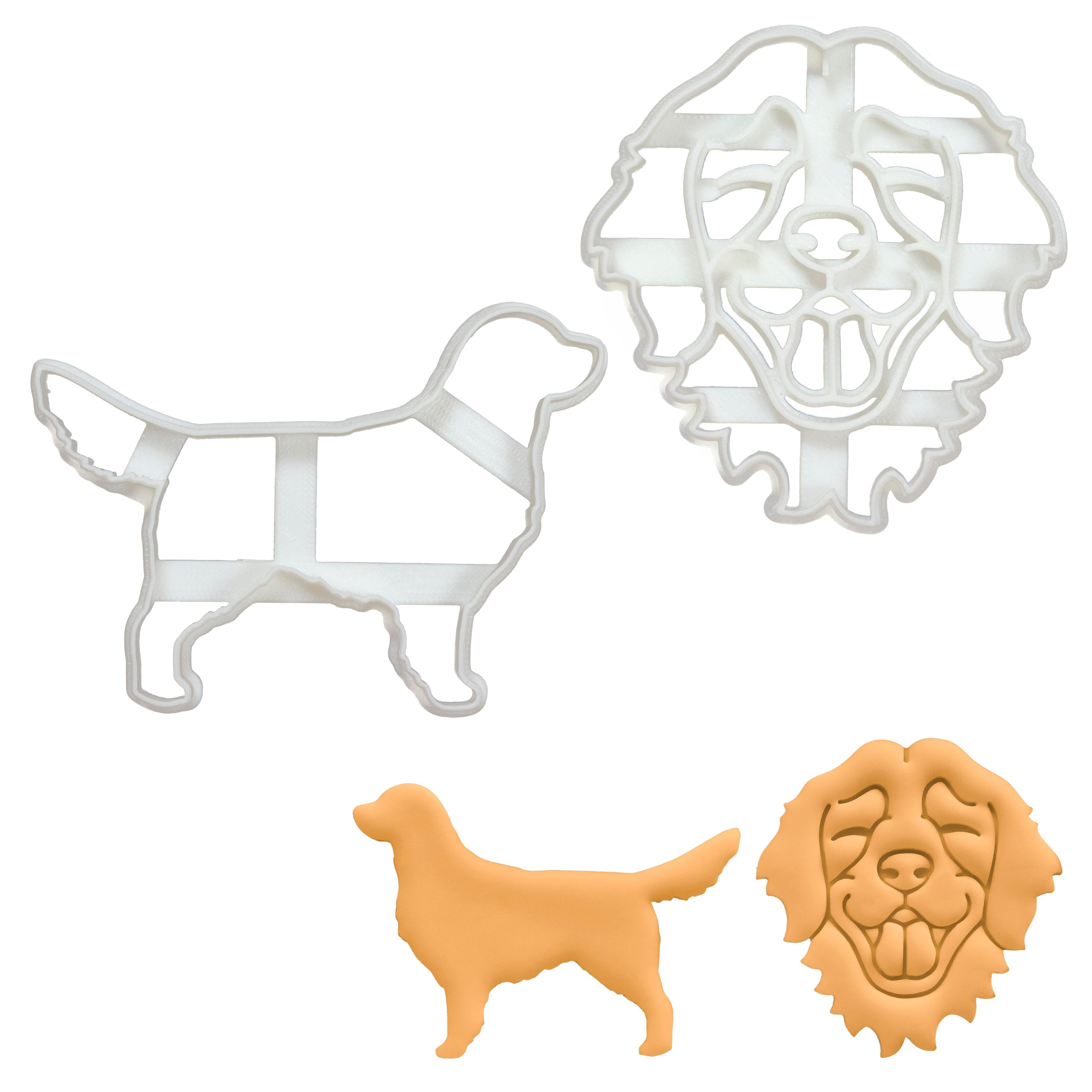 golden retriever face and silhouette cookie cutters