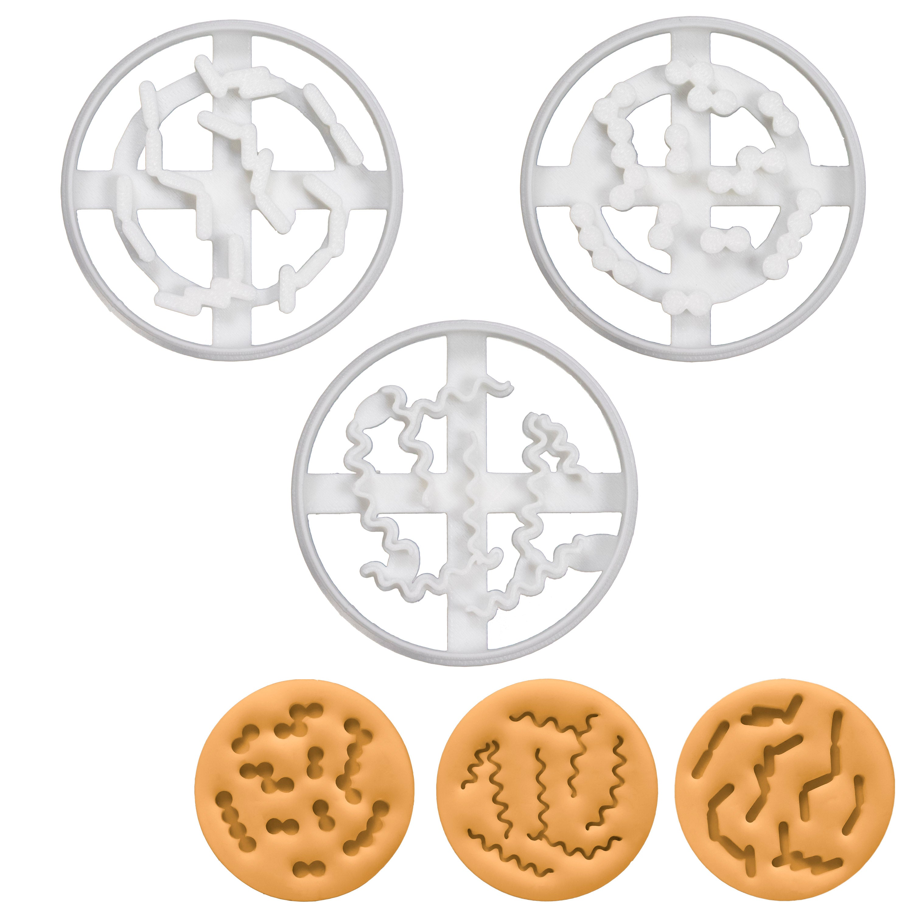Set of 3 Bacteria cookie cutters (Bacillus, Coccus, & Spiral)