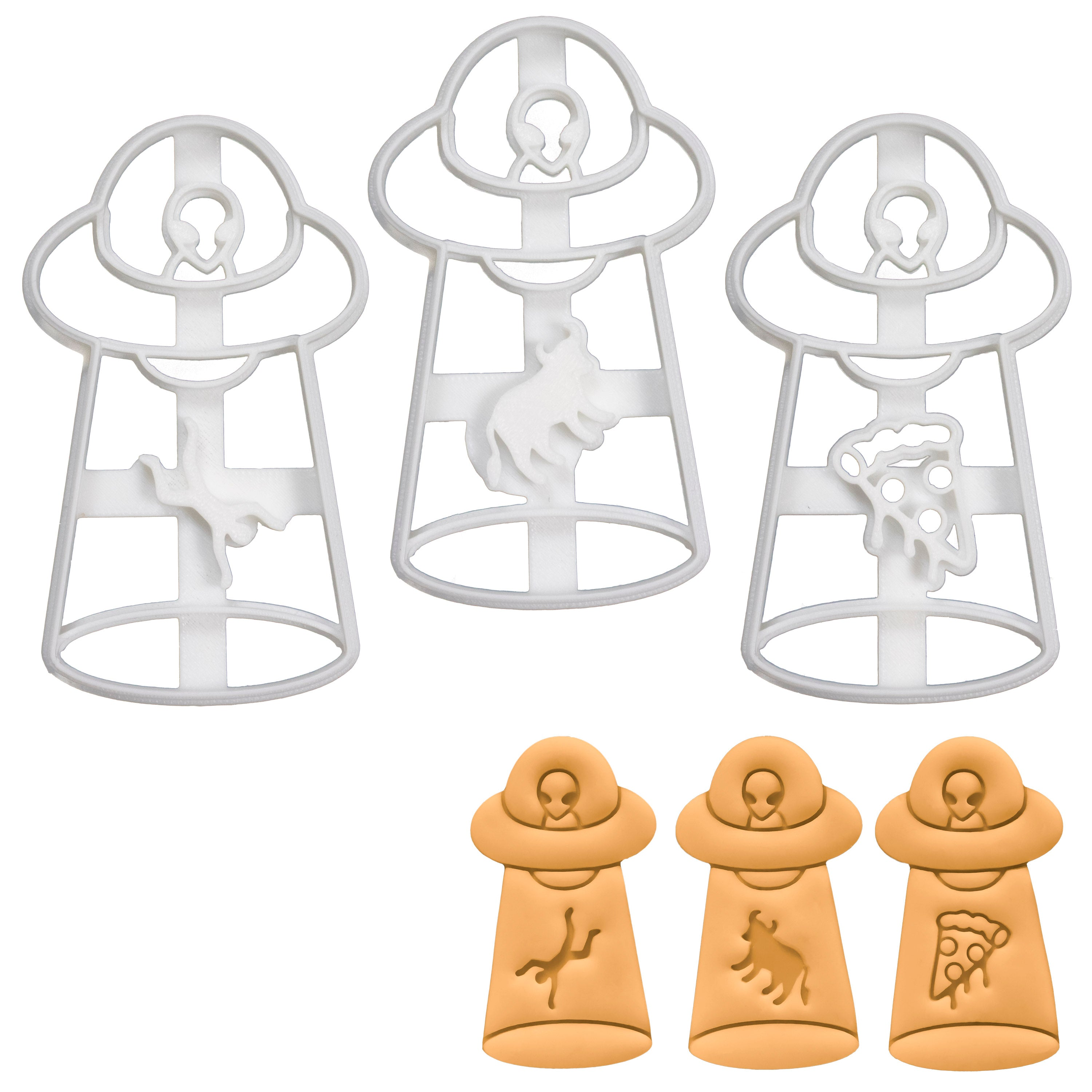 Set of 3 UFO Abduction Cookie Cutters (Man, Cow, & Pizza)