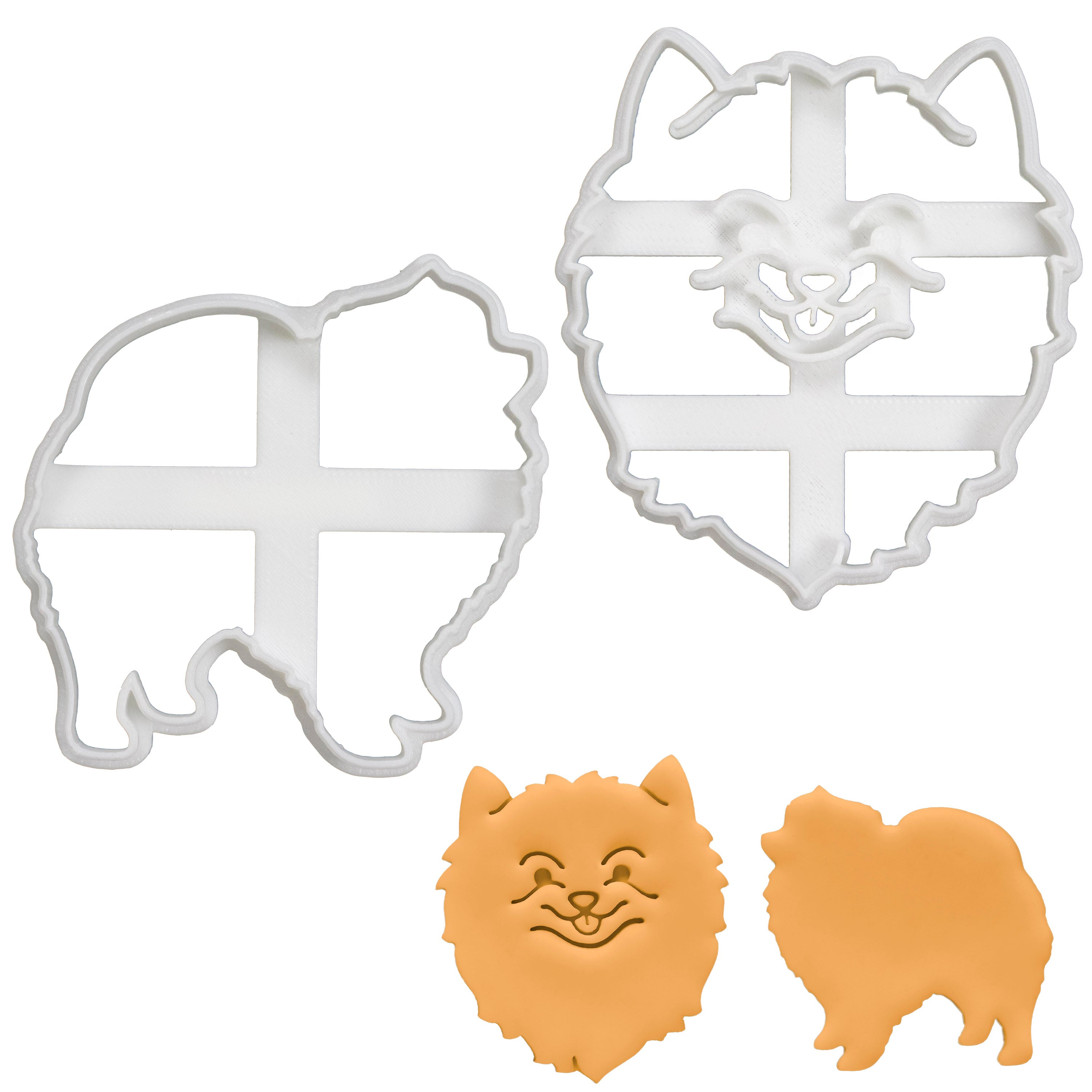 set of 2 pomeranian cookie cutters
