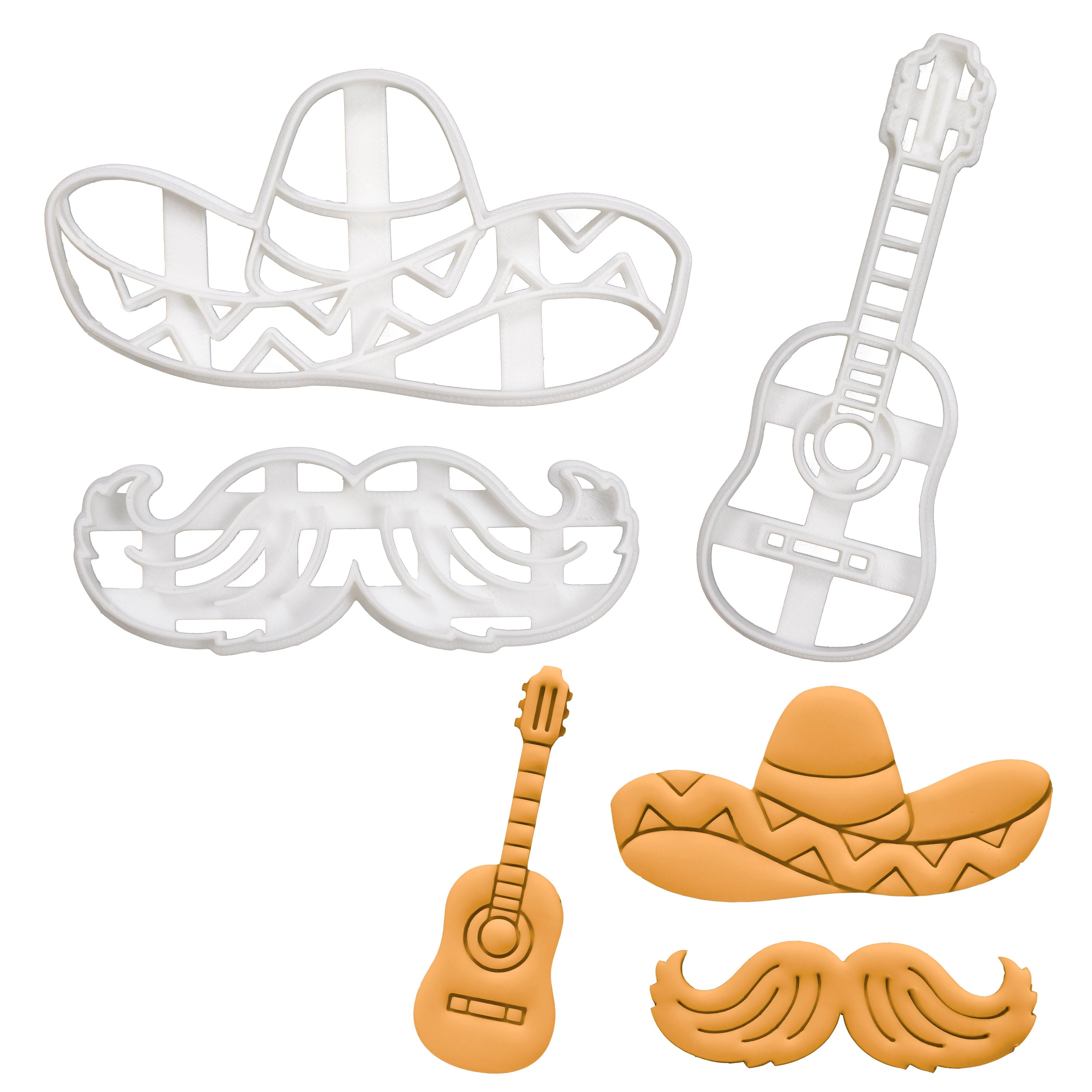 Set of 3 Mexican themed Cookie Cutters: Sombrero Hat, Guitar, & Mustache