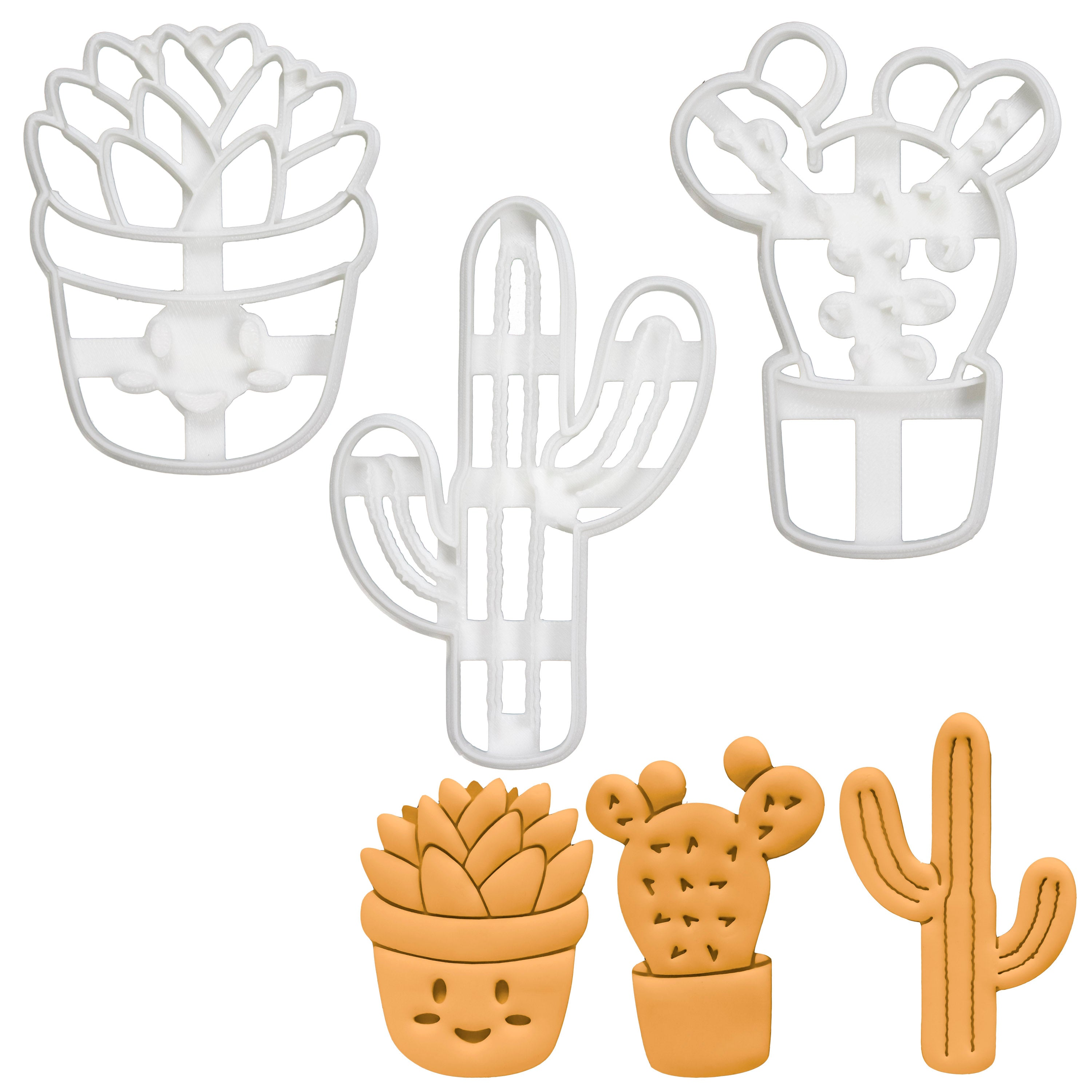 Tall Cactus (Saguaro), potted prickly pear, and succulent cookie cutters