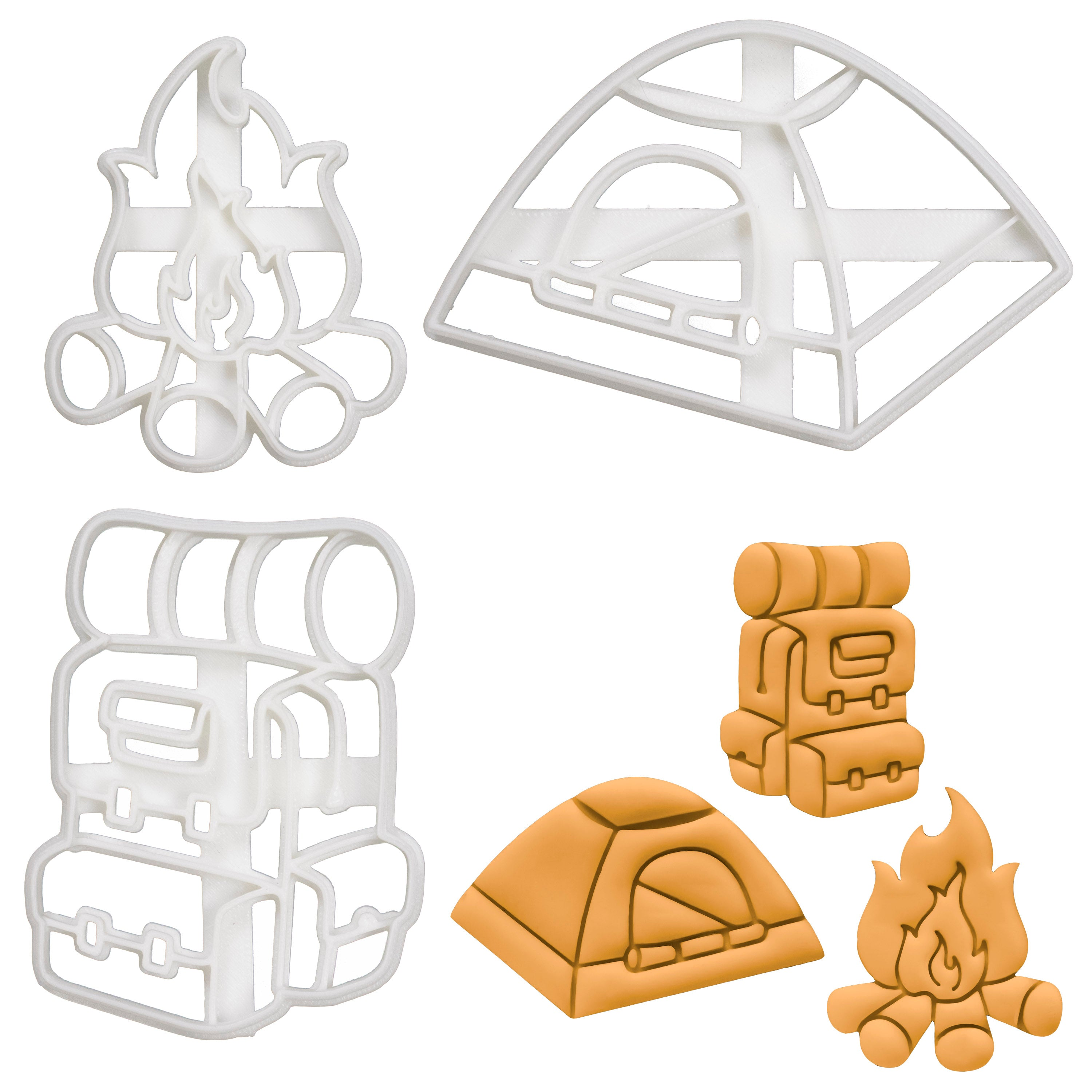Set of 3 Camping themed Cookie Cutters: Backpack, Tent, Bonfire