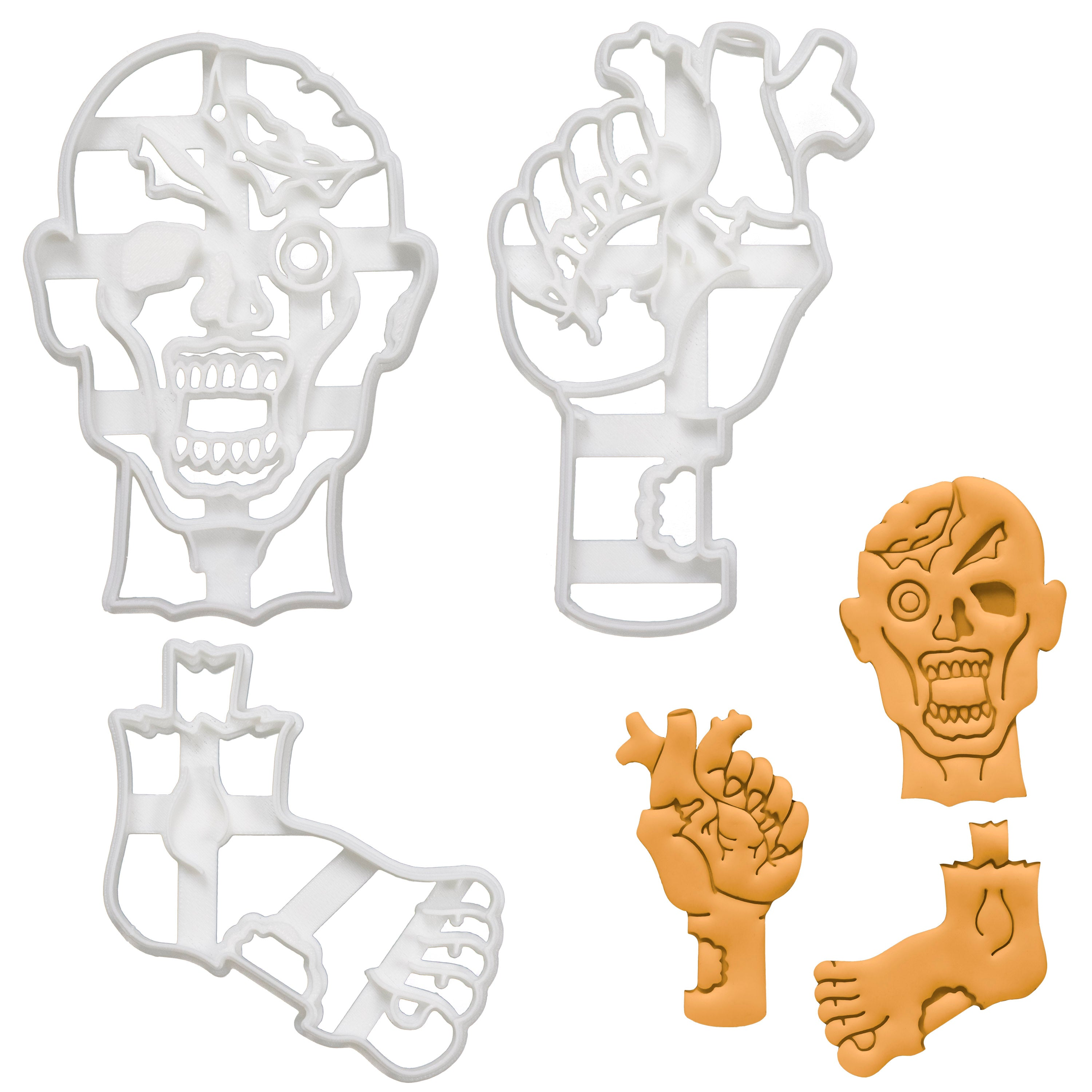 Set of 3 Cookie Cutters: Zombie Head, Foot, & Heart in Hand