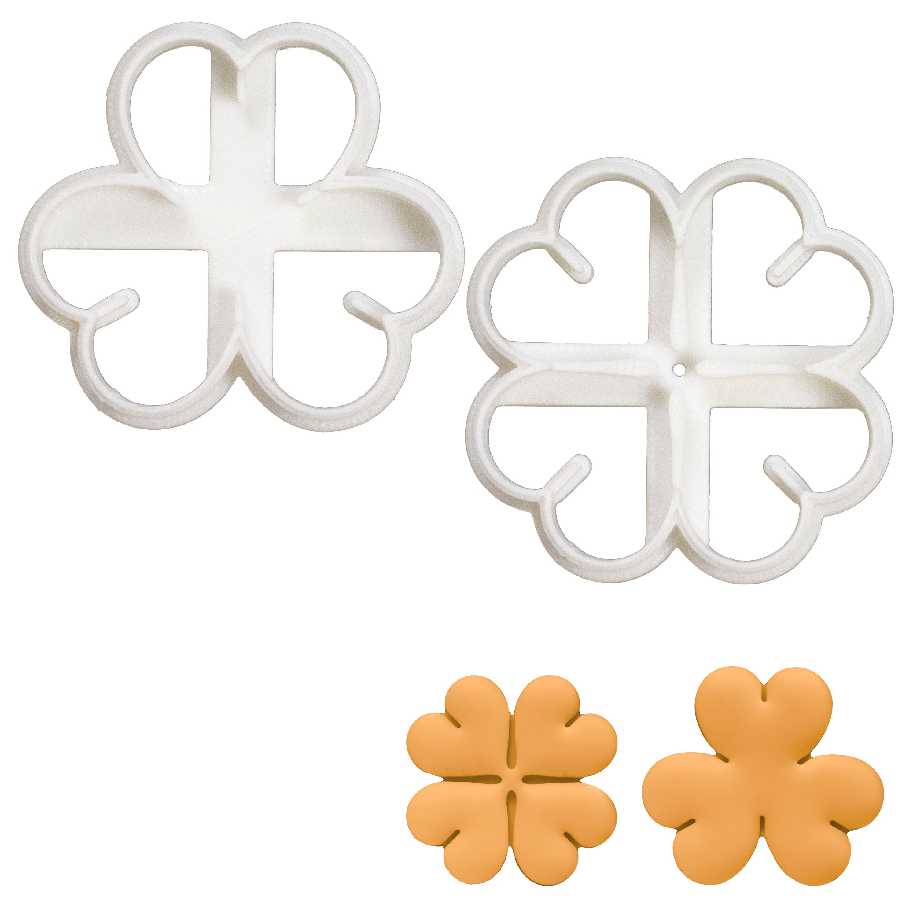 Set of 2 Clover Cookie Cutters (3 Leaf and 4 Leaf)