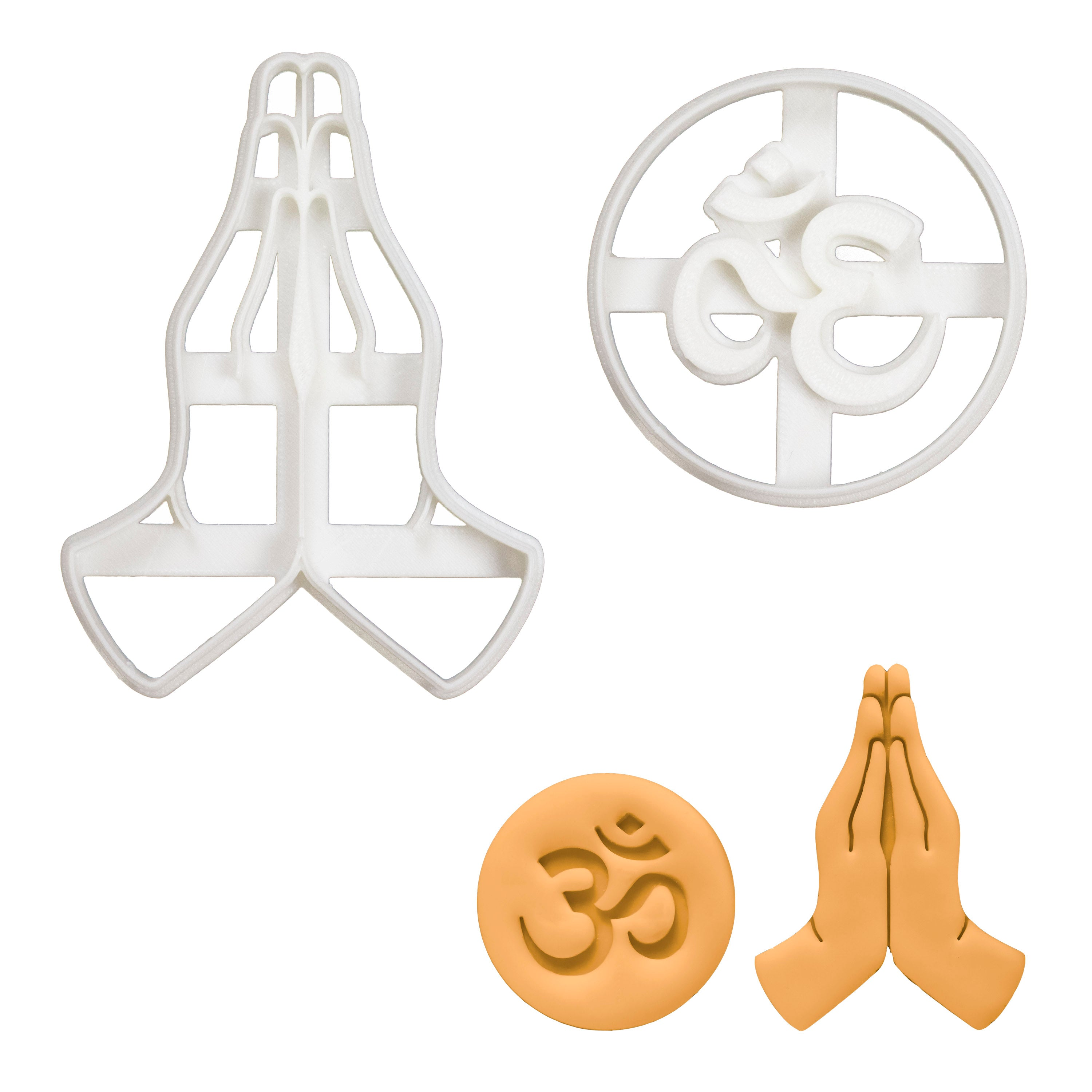 set of 2 yoga cookie cutters, namaste hands and aum om symbol