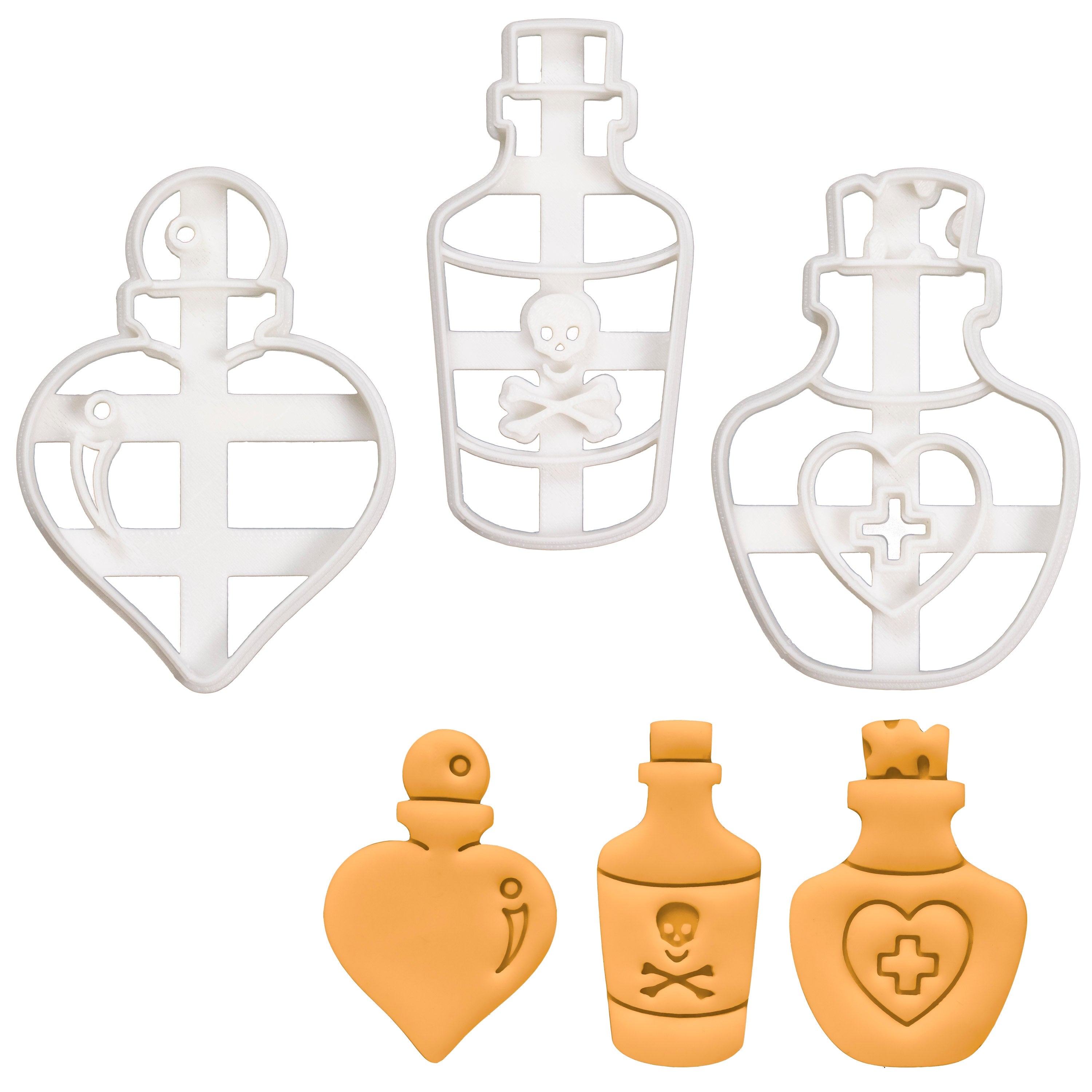Set of 3 Potion Bottle Cookie Cutters: Love, Poison, & Health
