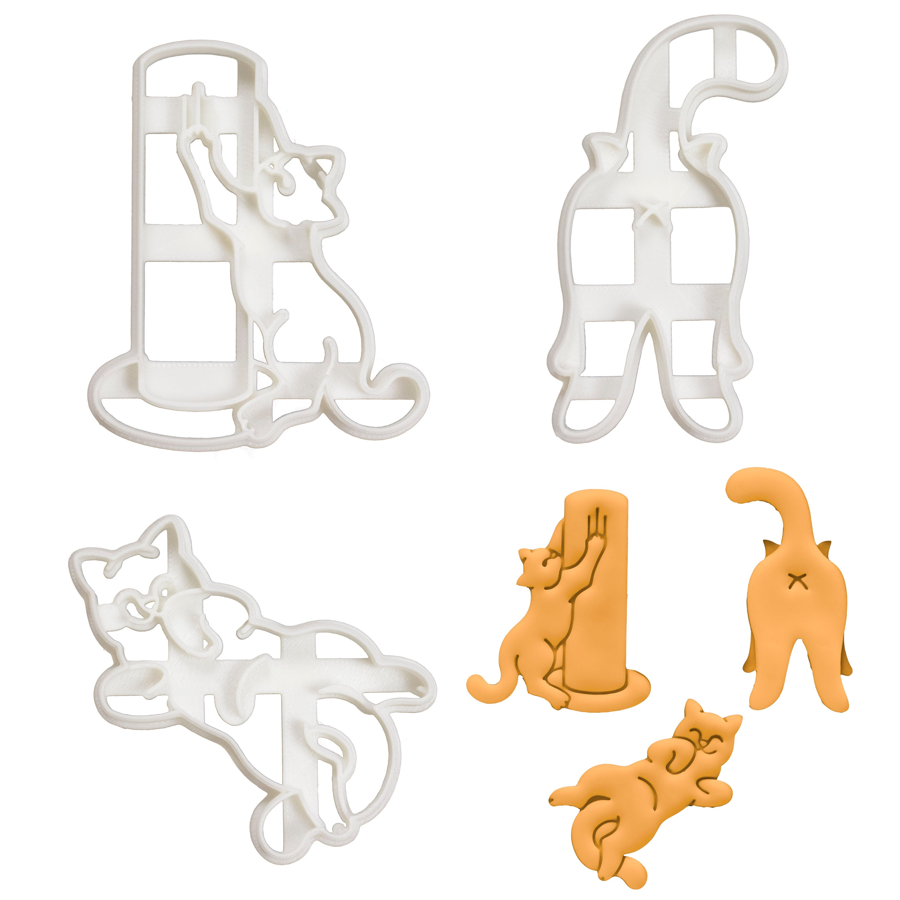 kitty butt, kitty scratch, and kitty roll cookie cutters