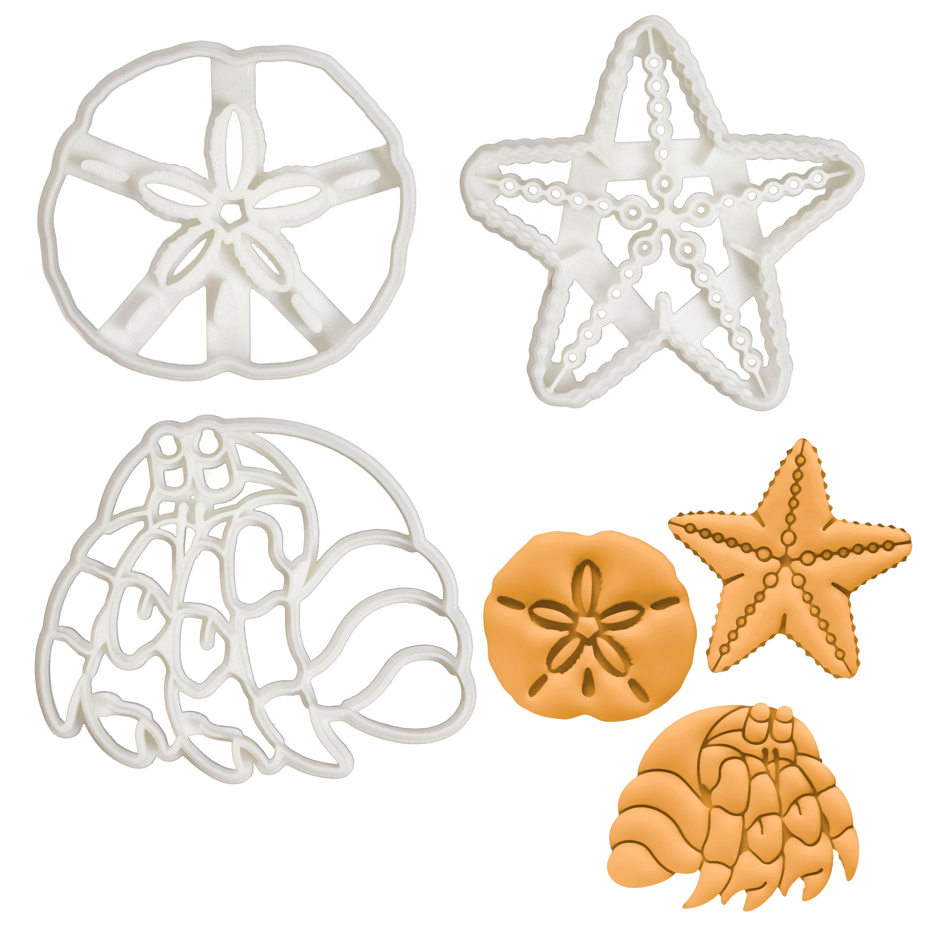 Set of 3 Nautical themed Cookie Cutters: Starfish, sand dollar, and hermit crab