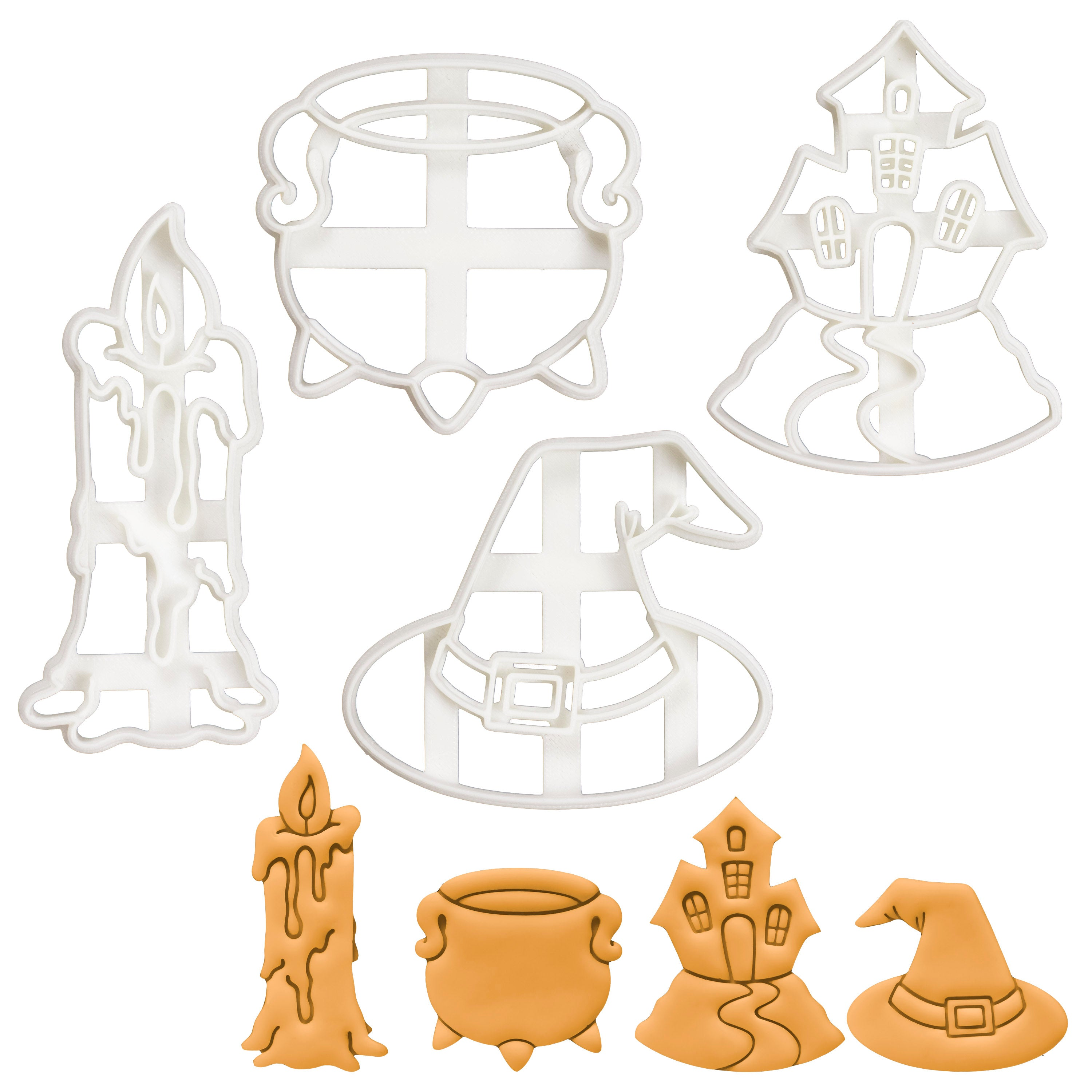 Set of 4 Witchcraft theme cookie cutters (Designs: Candle, Cauldron, Witch Hat, and Haunted House)