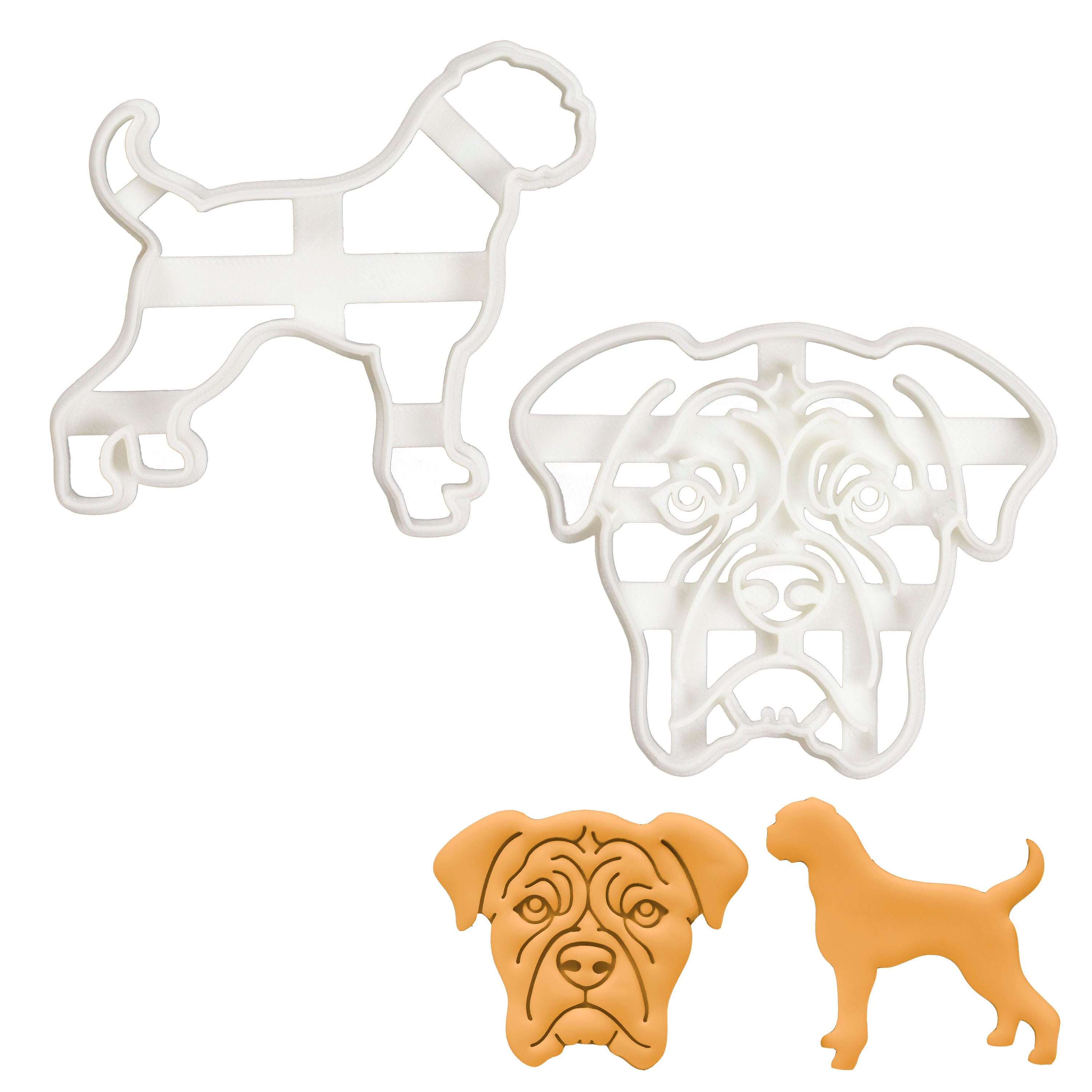 Set of 2 Boxer cookie cutters (Designs: Face and Silhouette)