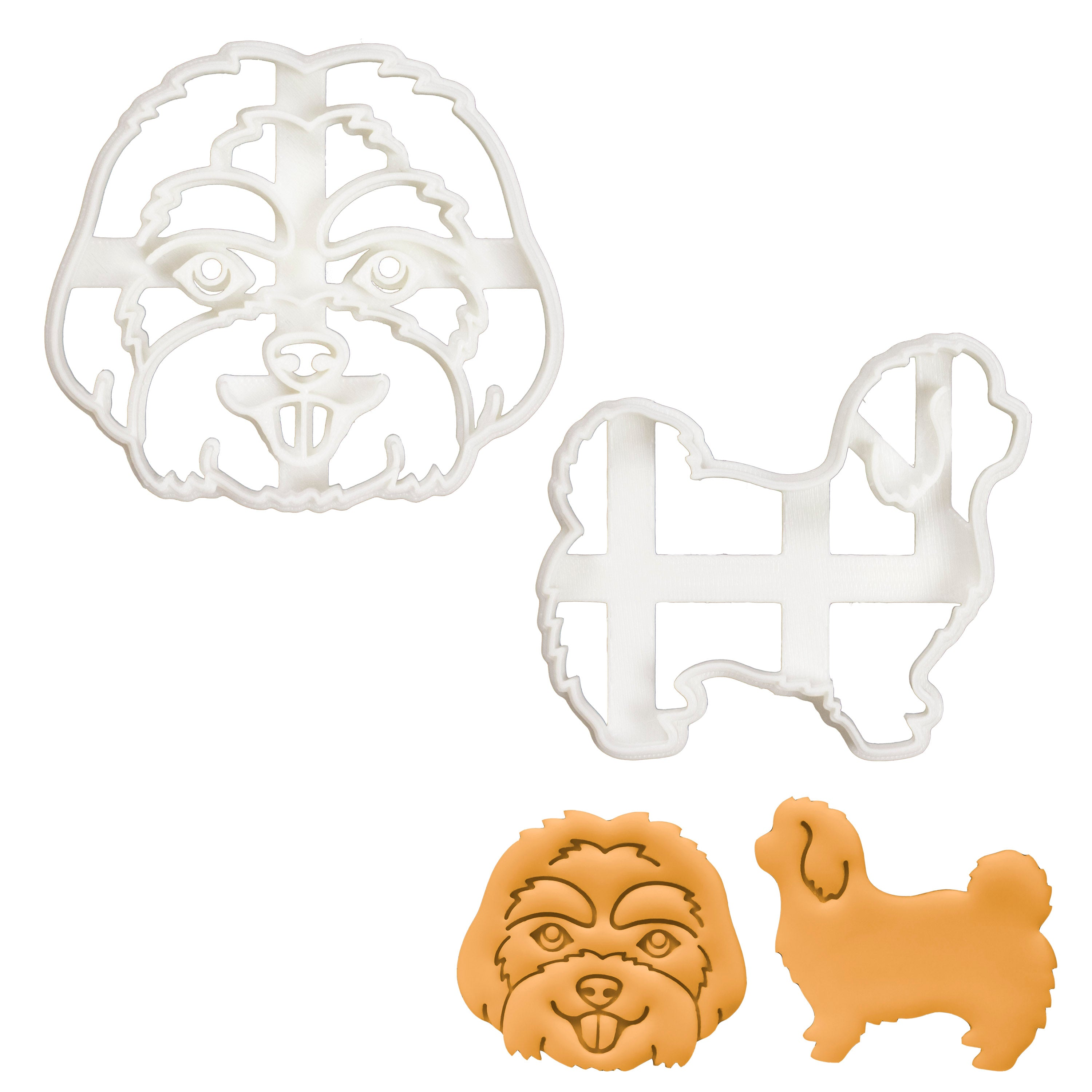 Set of 2 Maltese cookie cutters (Designs: Face and Body)