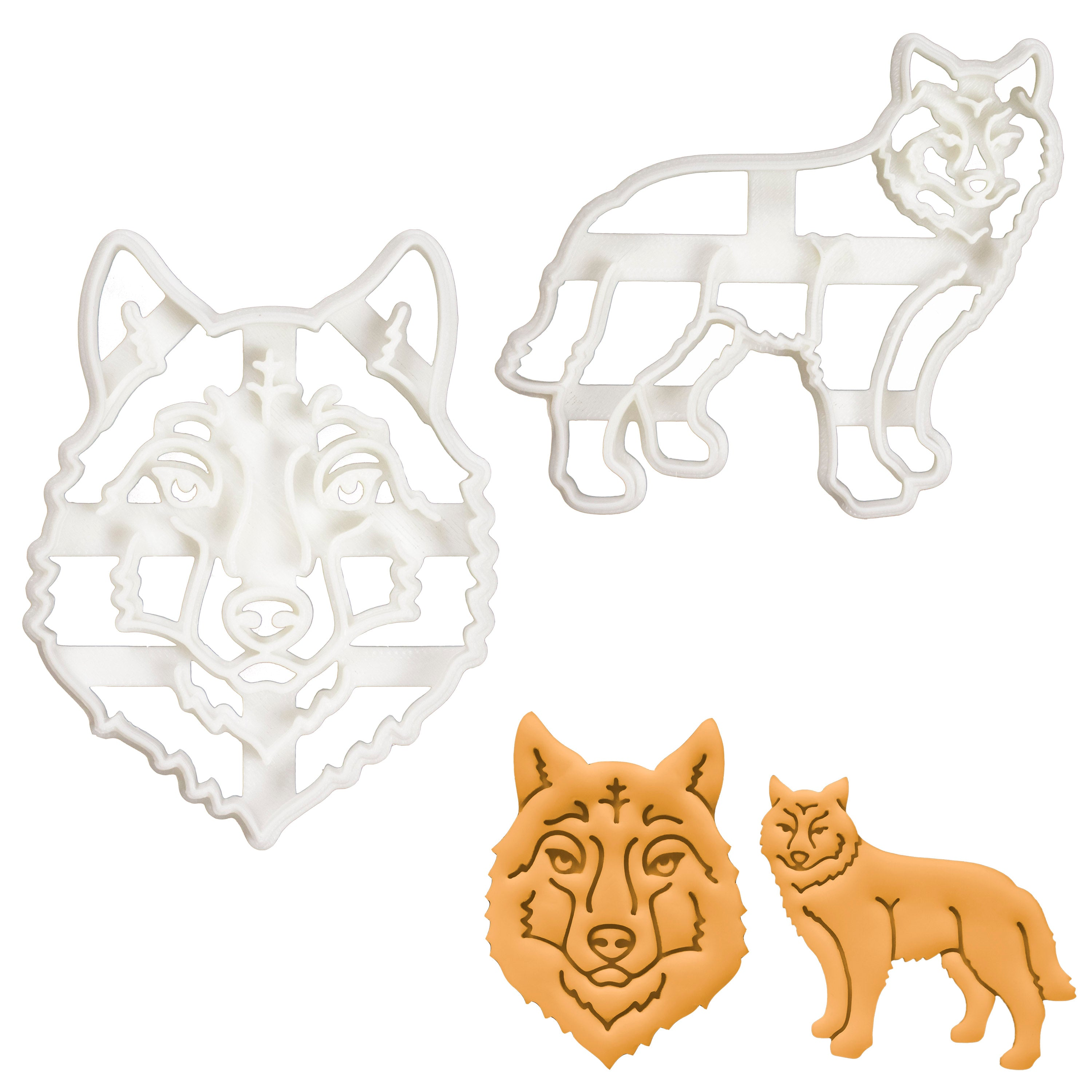 Set of 2 Wolf cookie cutters (Designs: Face and Body)