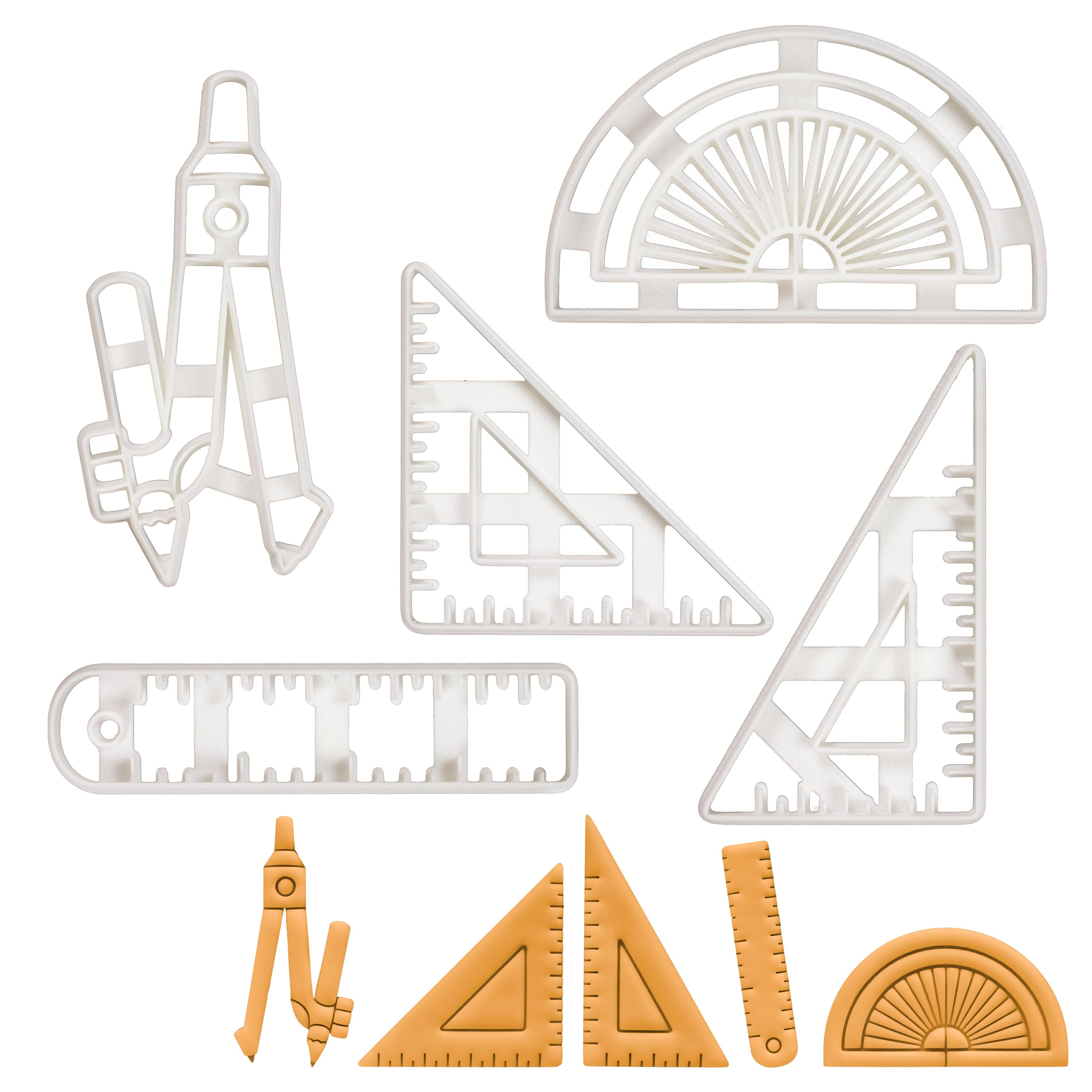 Set of 5 Technical Drawing Instruments (Designs: Set Squares, Protractor, Ruler, Compass)