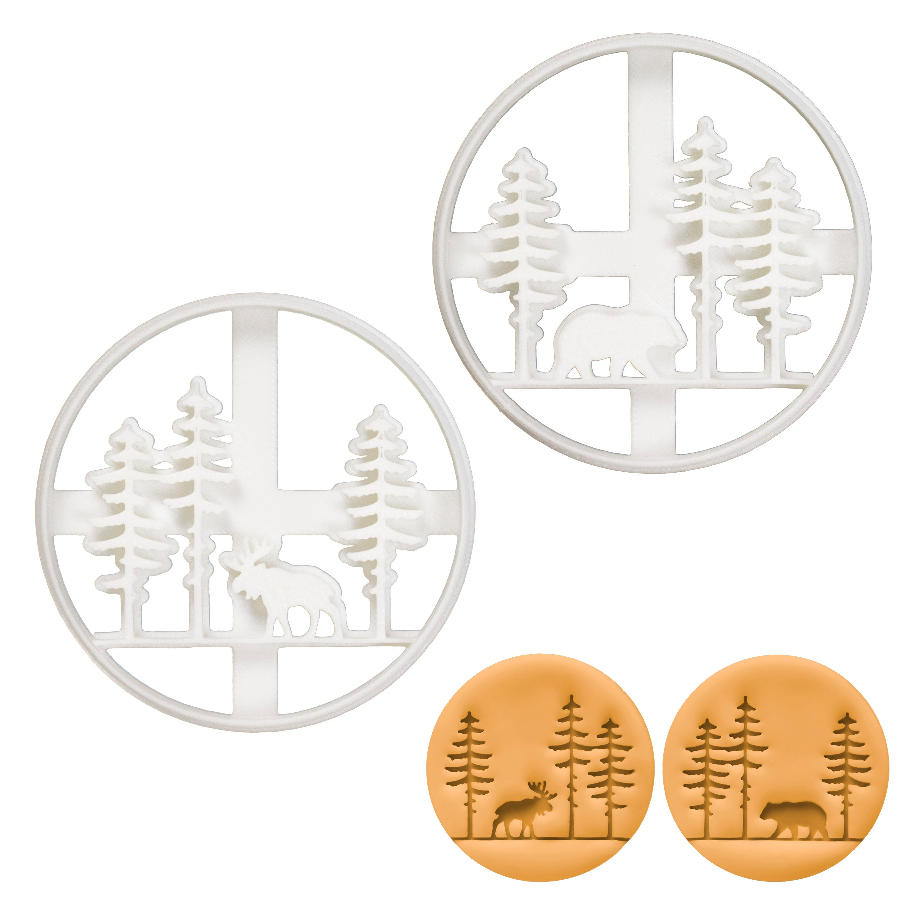 Set of 2 Forest Animal cookie cutters (Designs: Moose and Bear)