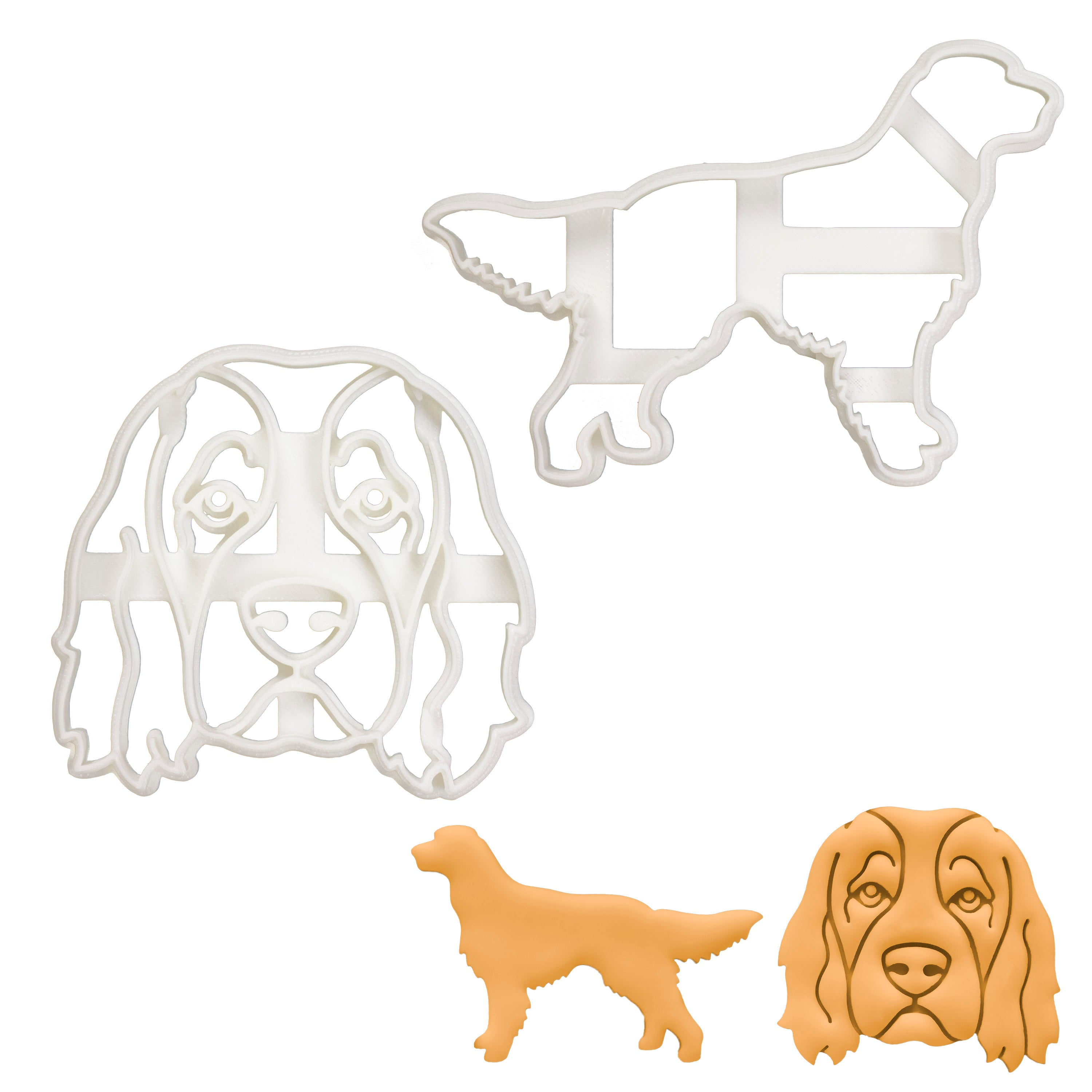 Set of 2 Irish Red and White Setter cookie cutters (Design: Outline and Face)