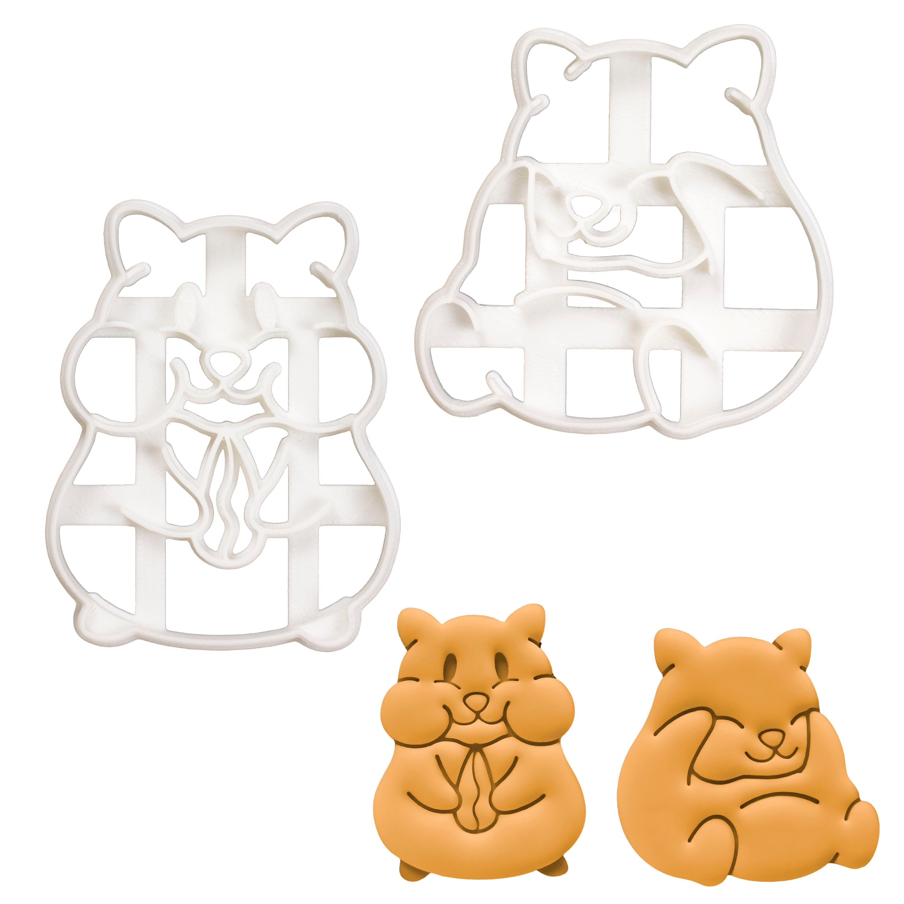 Set of 2 Hamsters cookie cutters (Designs: Eating and Grooming)