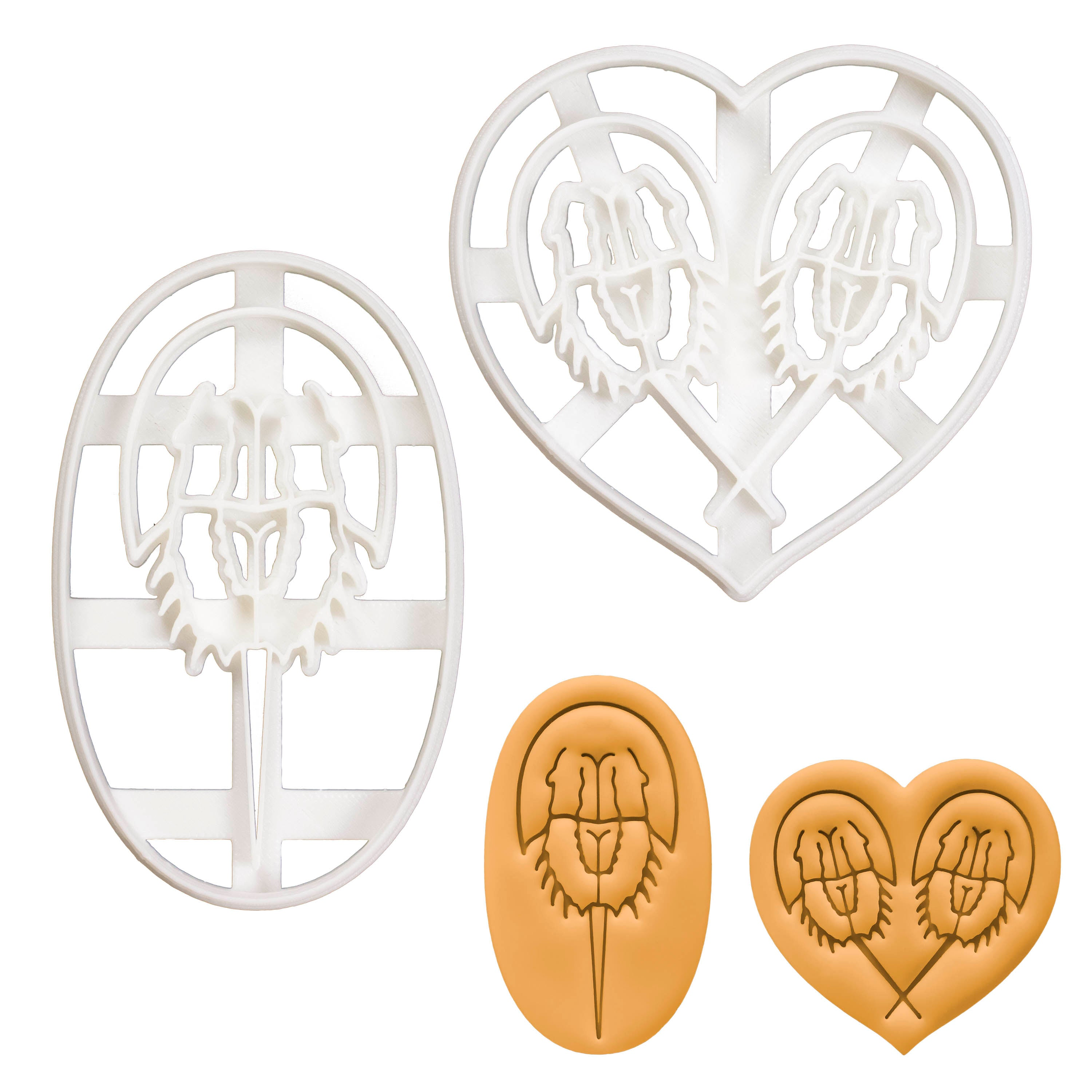 Set of 2 Horseshoe Crab cookie cutters (Designs: Profile and Love)