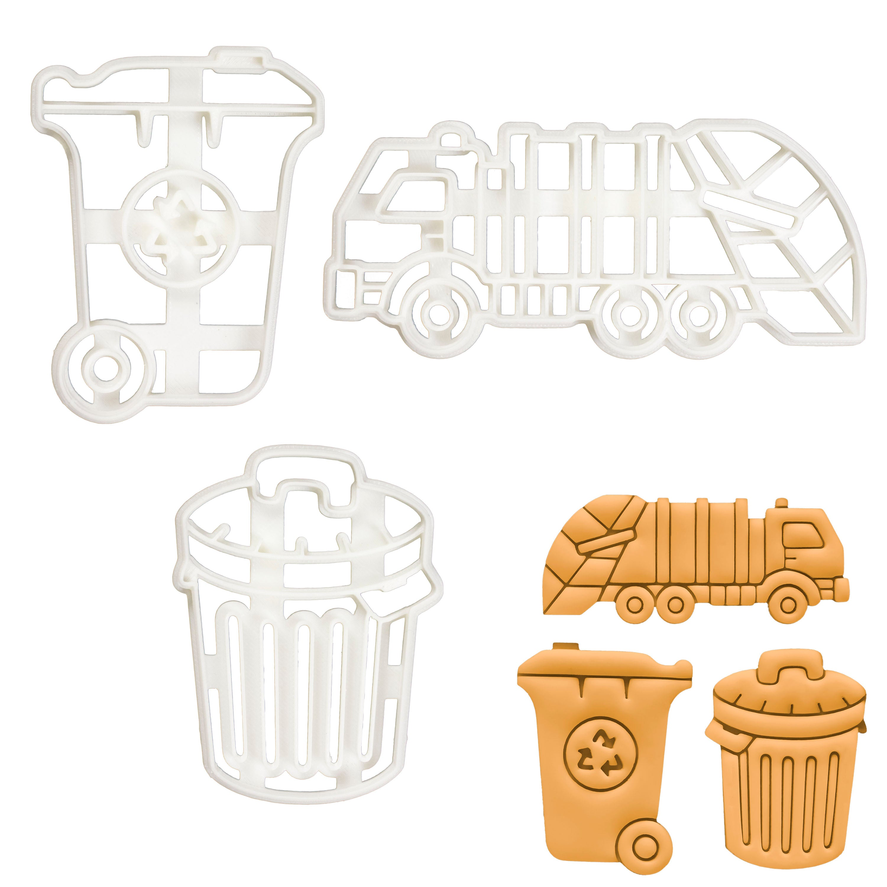 Set of 3 Rubbish themed cookie cutters (Designs: Bin, Truck, and Wheelie)