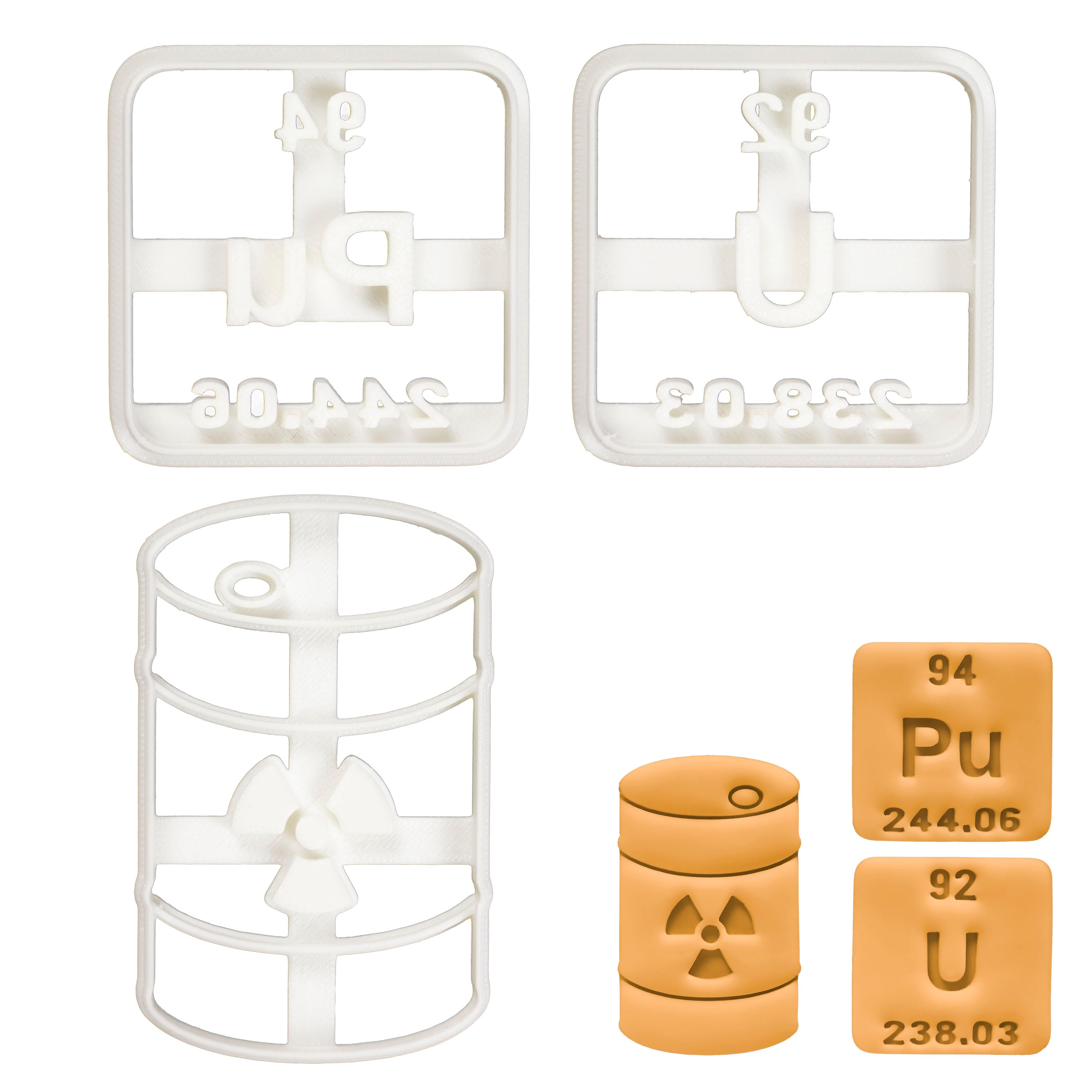 Set of 3 Radioactive themed cookie cutters (Designs: Nuclear Waste, Plutonium, Uranium periodic table element)