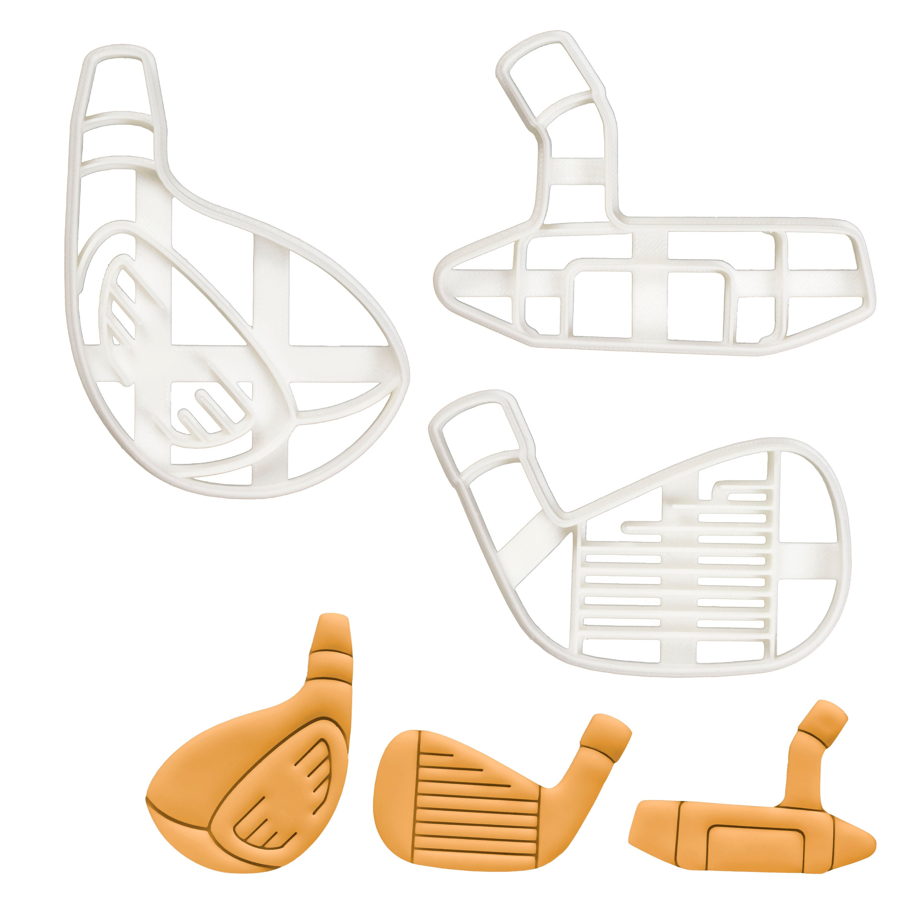 Set of 3 Golf Clubs cookie cutters (Designs: Driver, Iron, Putter)