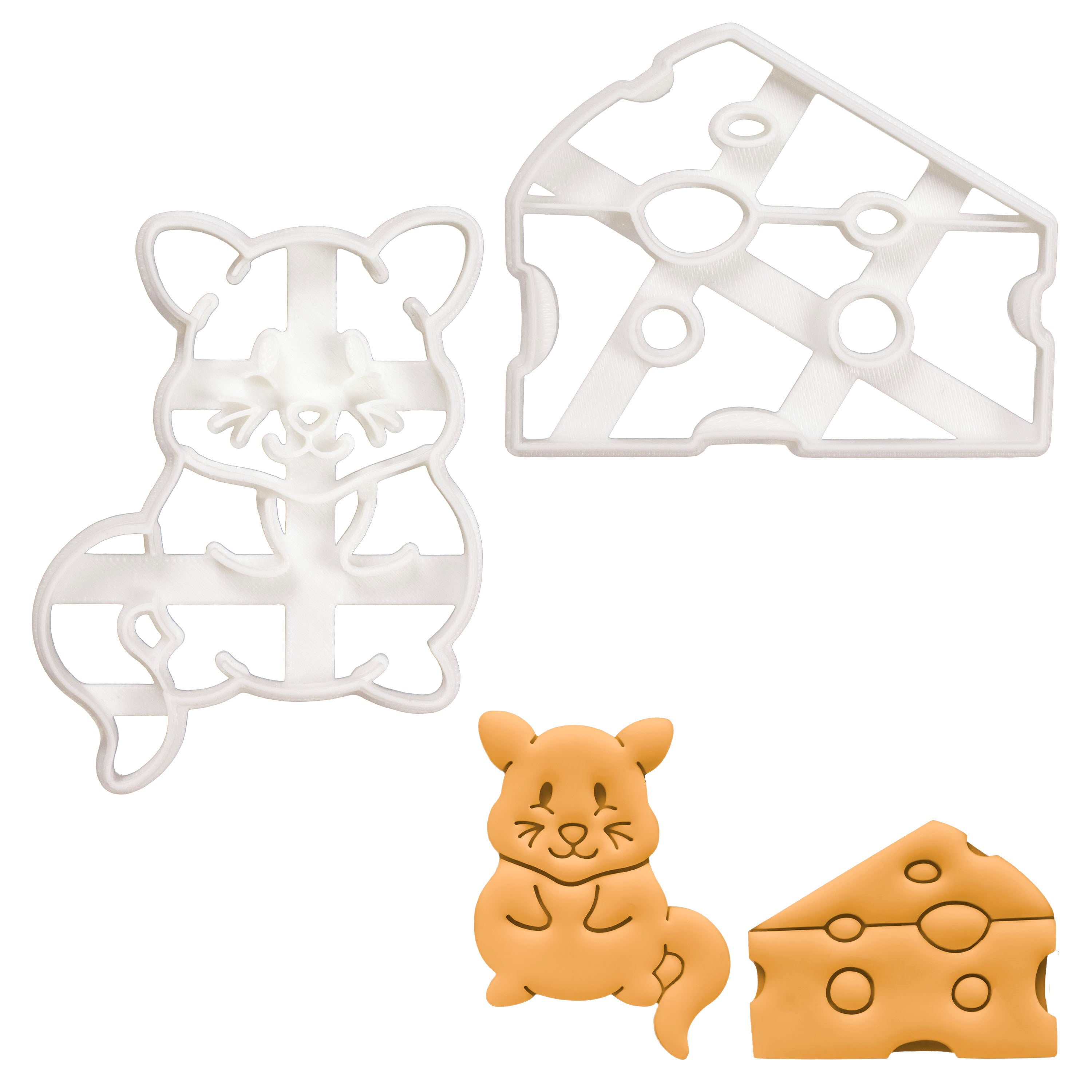 Set of 2 Cookie Cutters (Designs: Cheese and Cute Mouse)