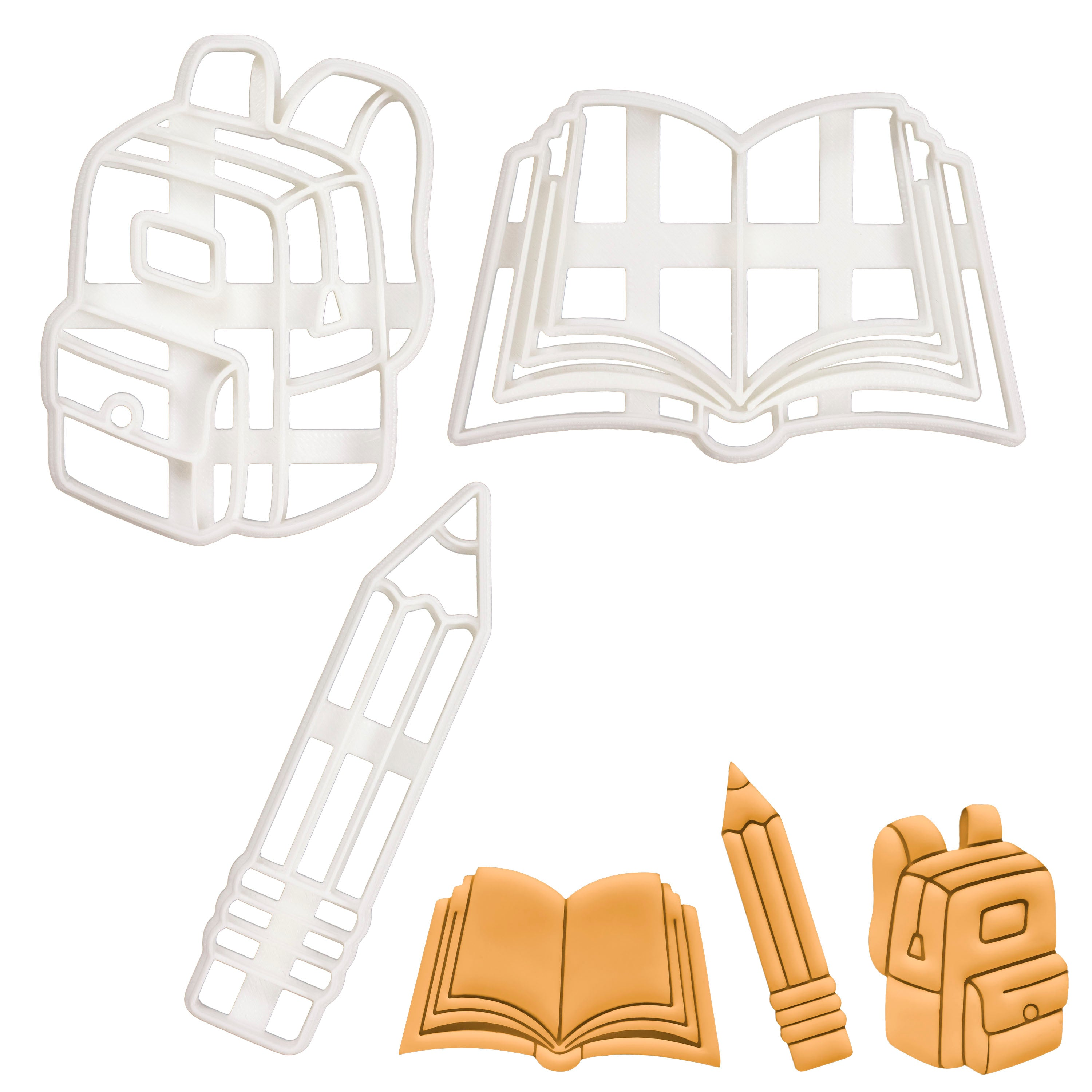 Set of 3 Back to School themed cookie cutters (Designs: Backpack, Book, Pencil)