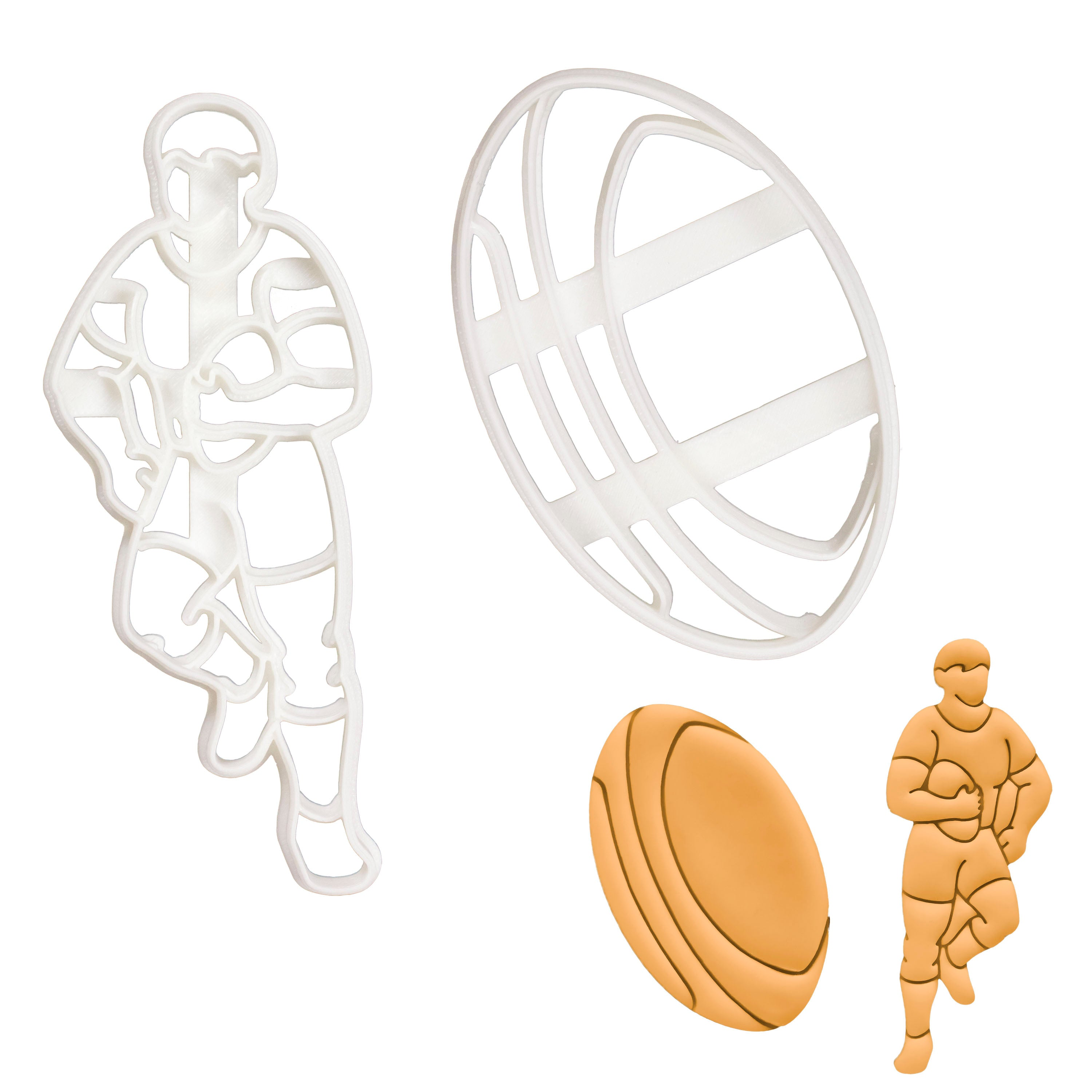 Set of 2 Rugby themed cookie cutters (Designs: Player and Ball)