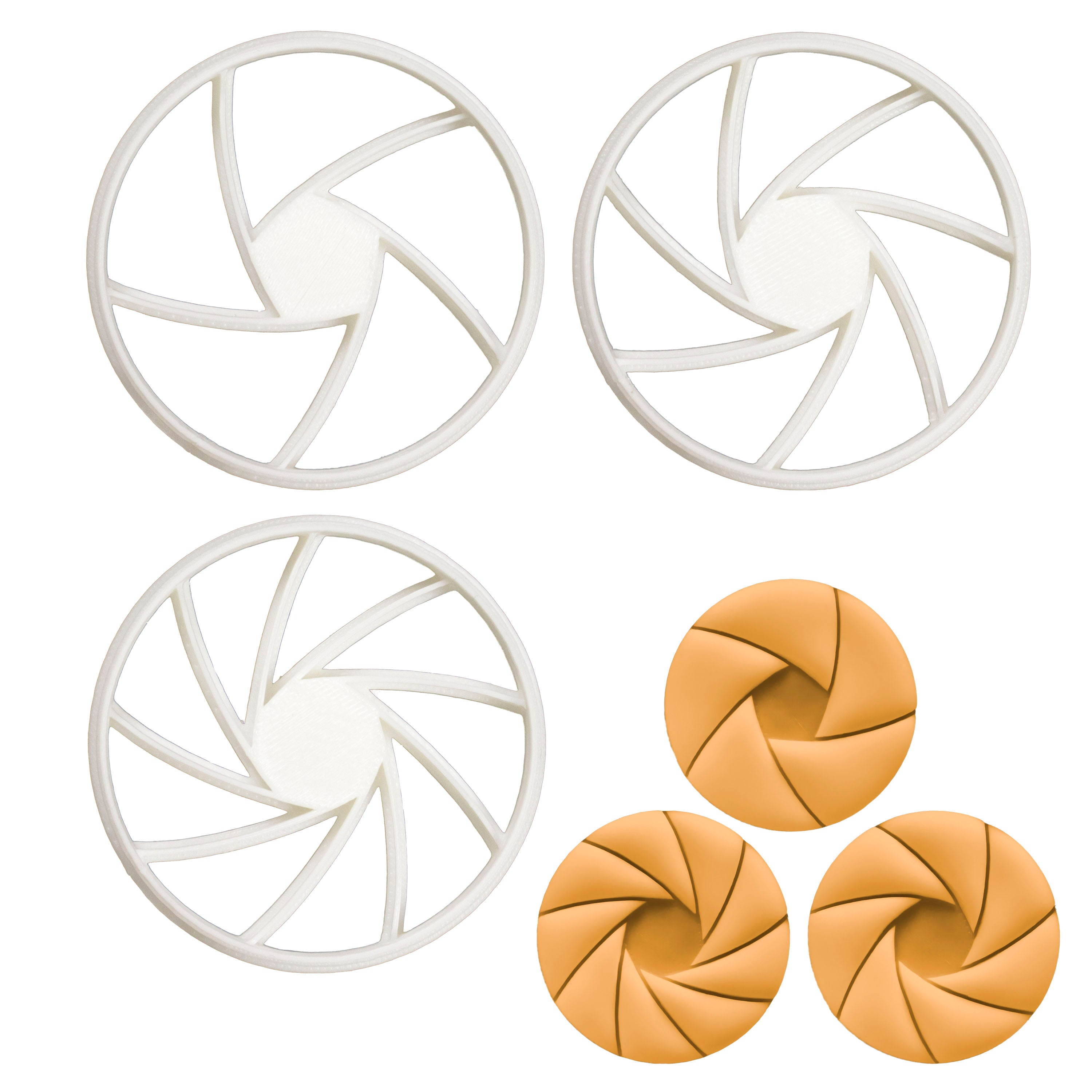 Set of 3 Aperture cookie cutters (Designs: 5, 7, and 9 Blades)