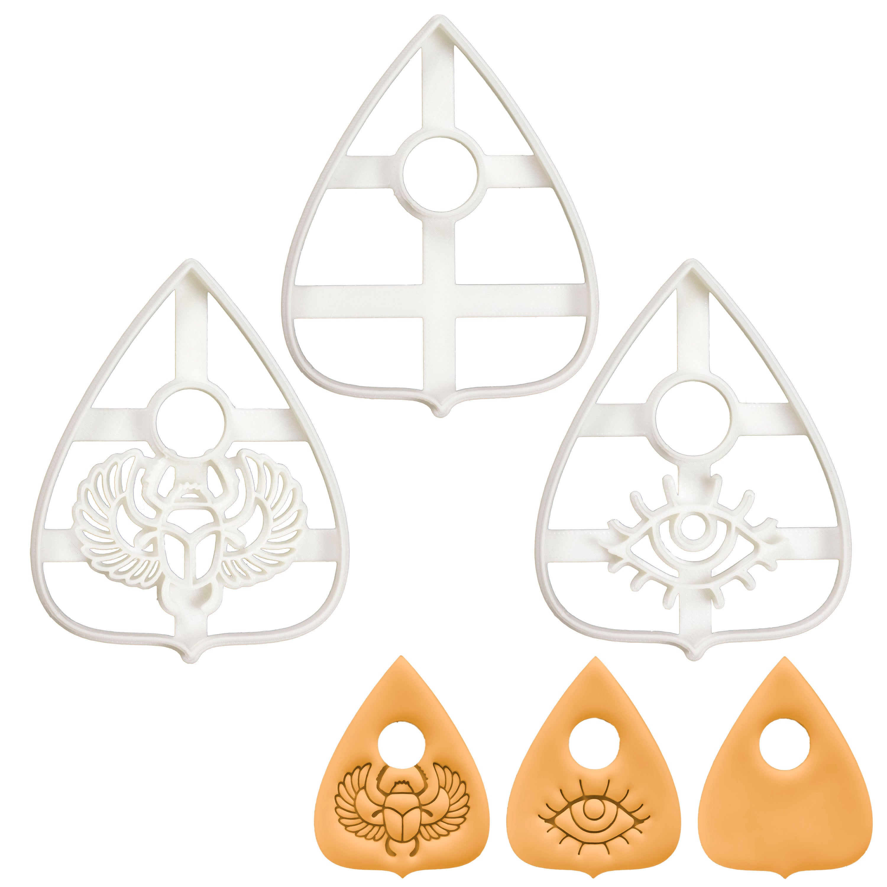 Set of 3 Planchette cookie cutters (Designs: Plain, Eye, Scarab)