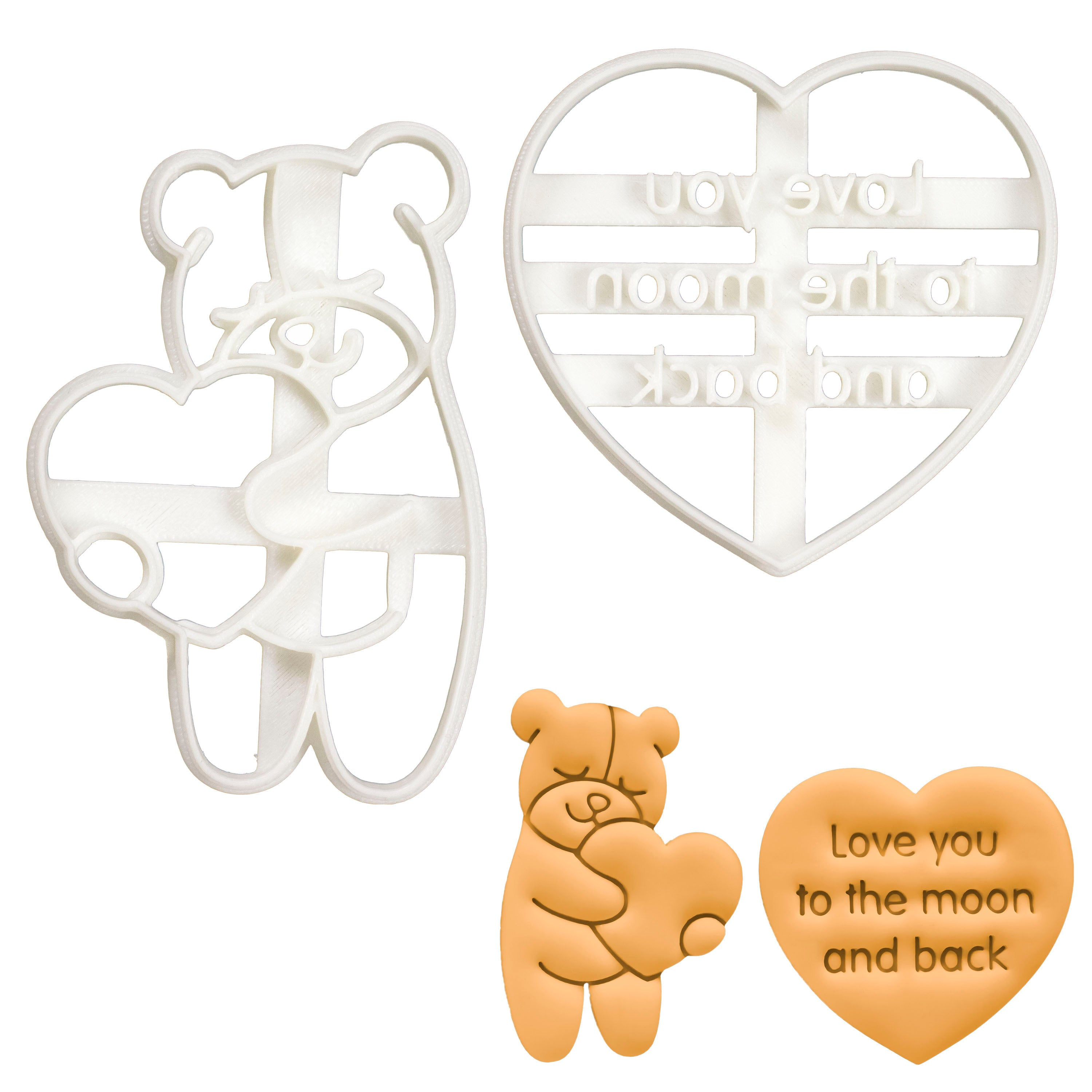 Love You to the Moon and Back in Sans Serif and Cute Bear Hugging a Heart cookie cutters