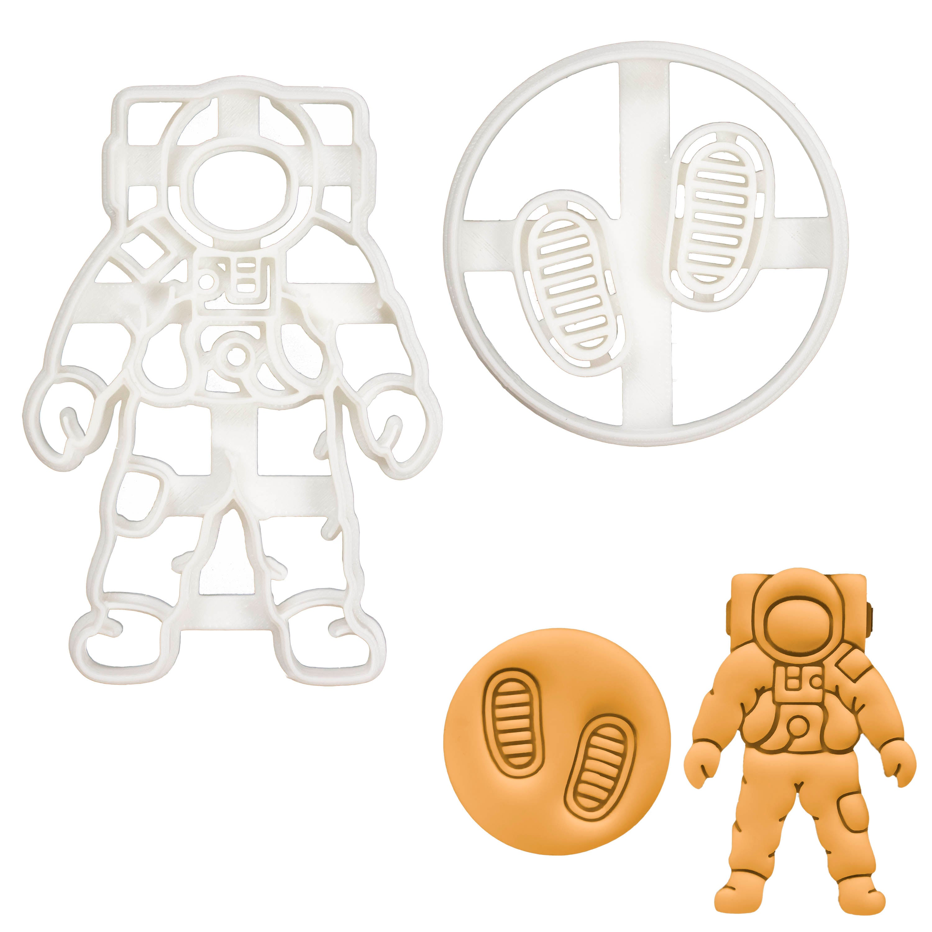 Set of 2 Space themed cookie cutters (Designs: Astronaut Footprints and Space Astronaut)
