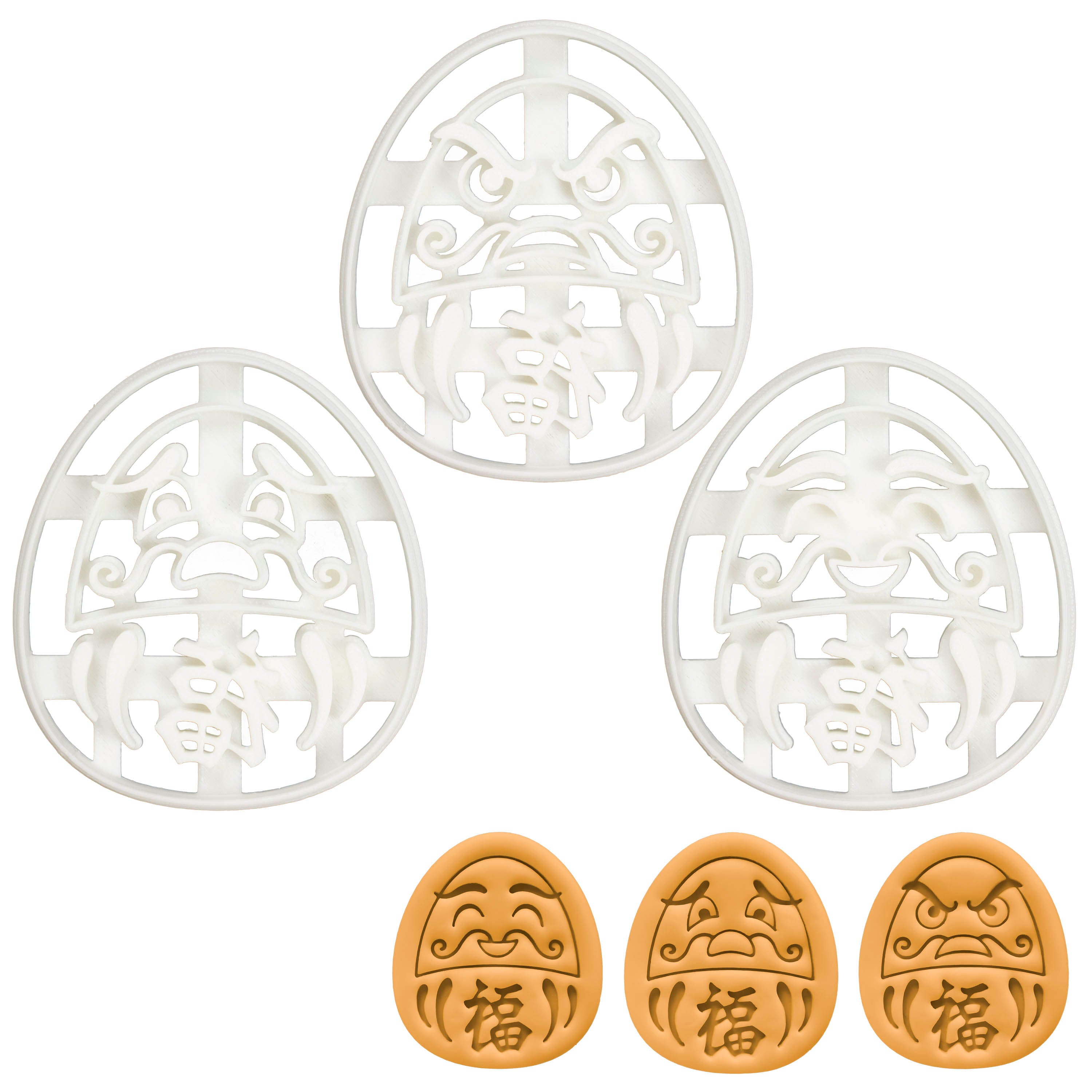 Set of 3 Daruma Doll cookie cutters (Designs: Angry, Happy, Worried)