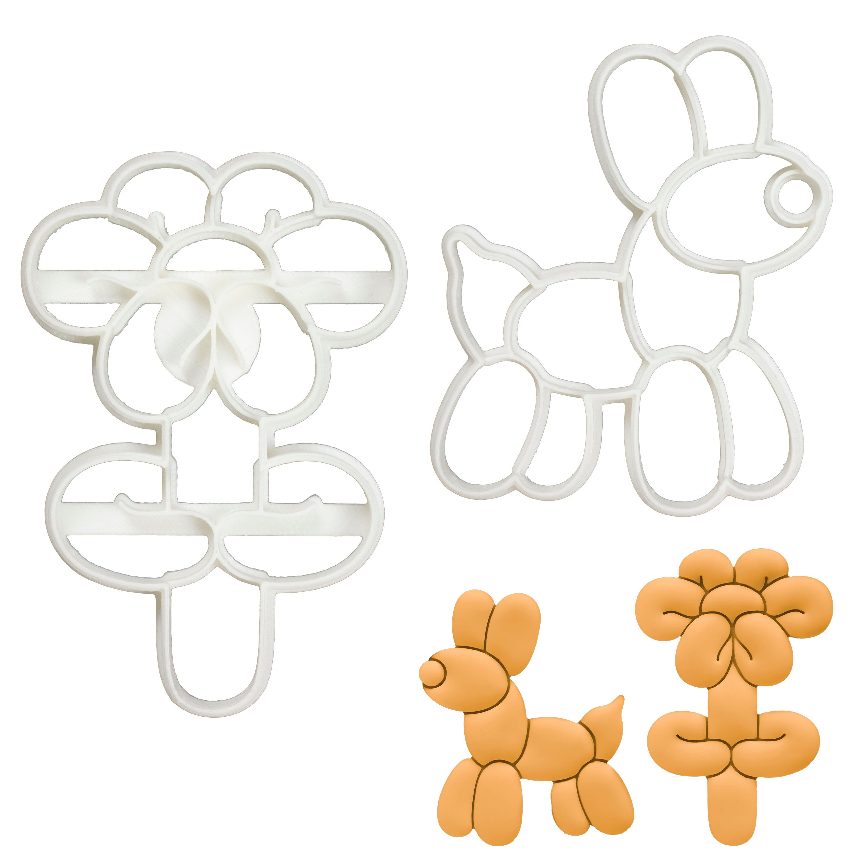 Set of 2 Cookie Cutters (Designs: Balloon Dog and Flower)