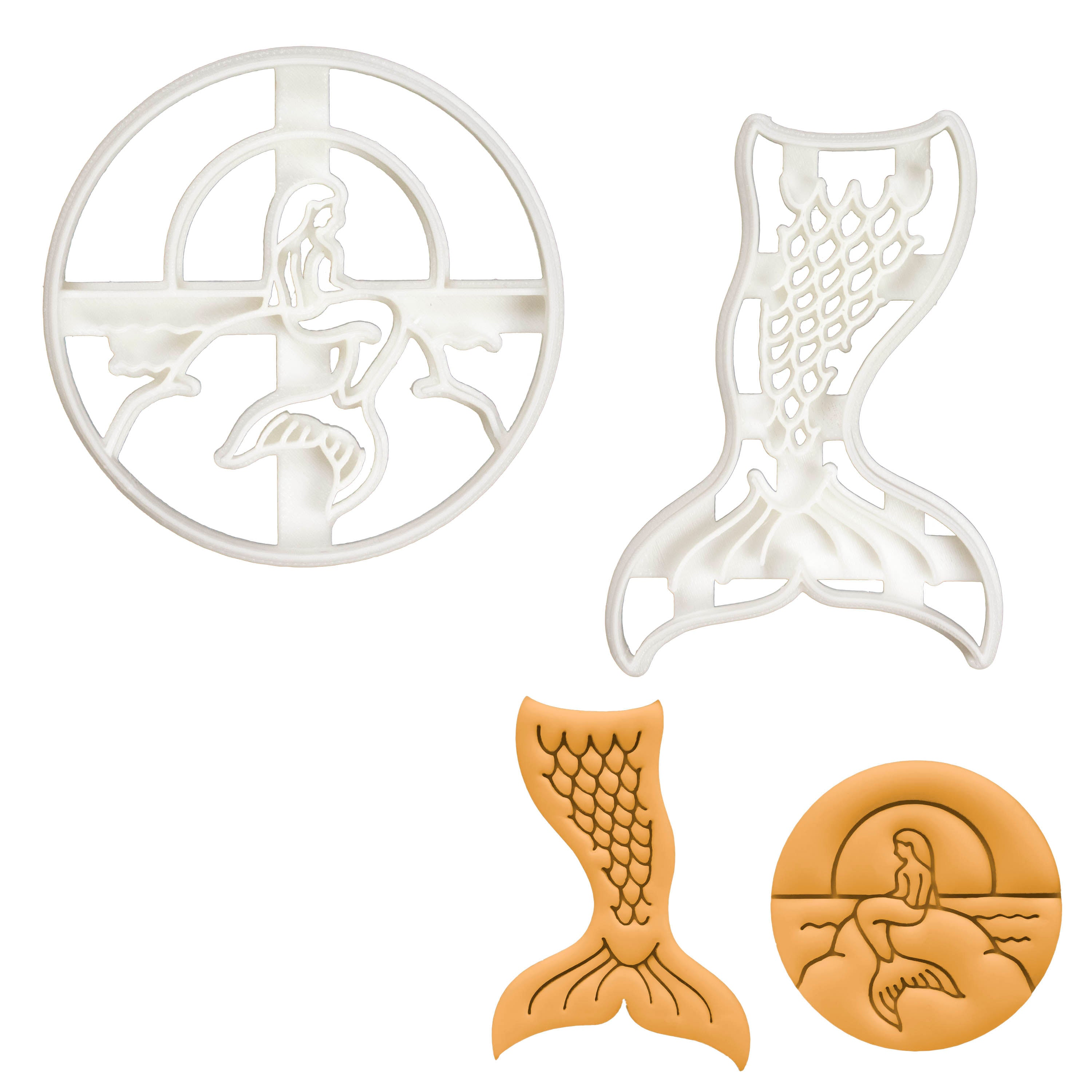 Set of 2 Mermaid cookie cutters (Designs: Sunset and Tail)