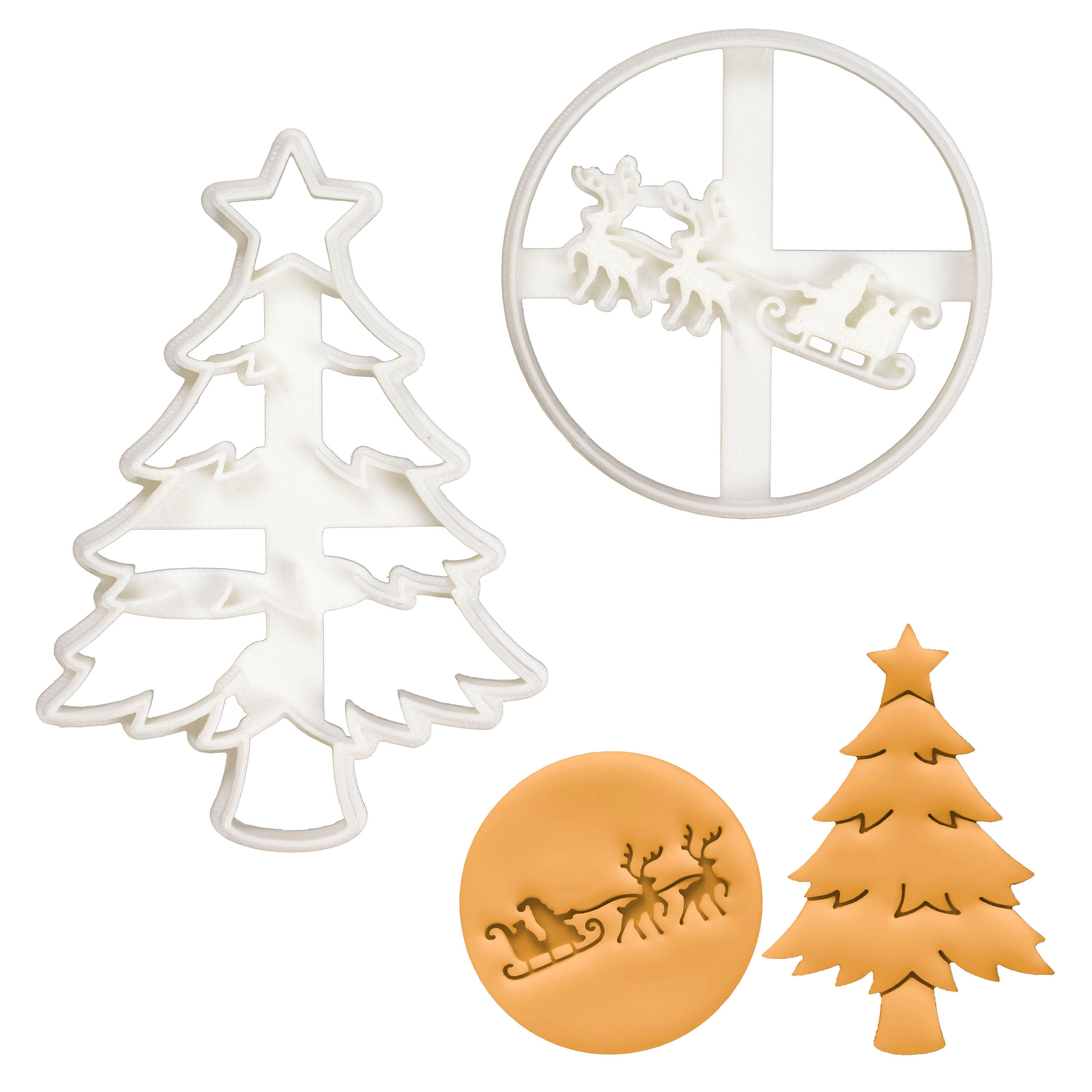 Set of 2 Christmas cookie cutters (Designs: Christmas Tree and Santa Claus with Reindeer)