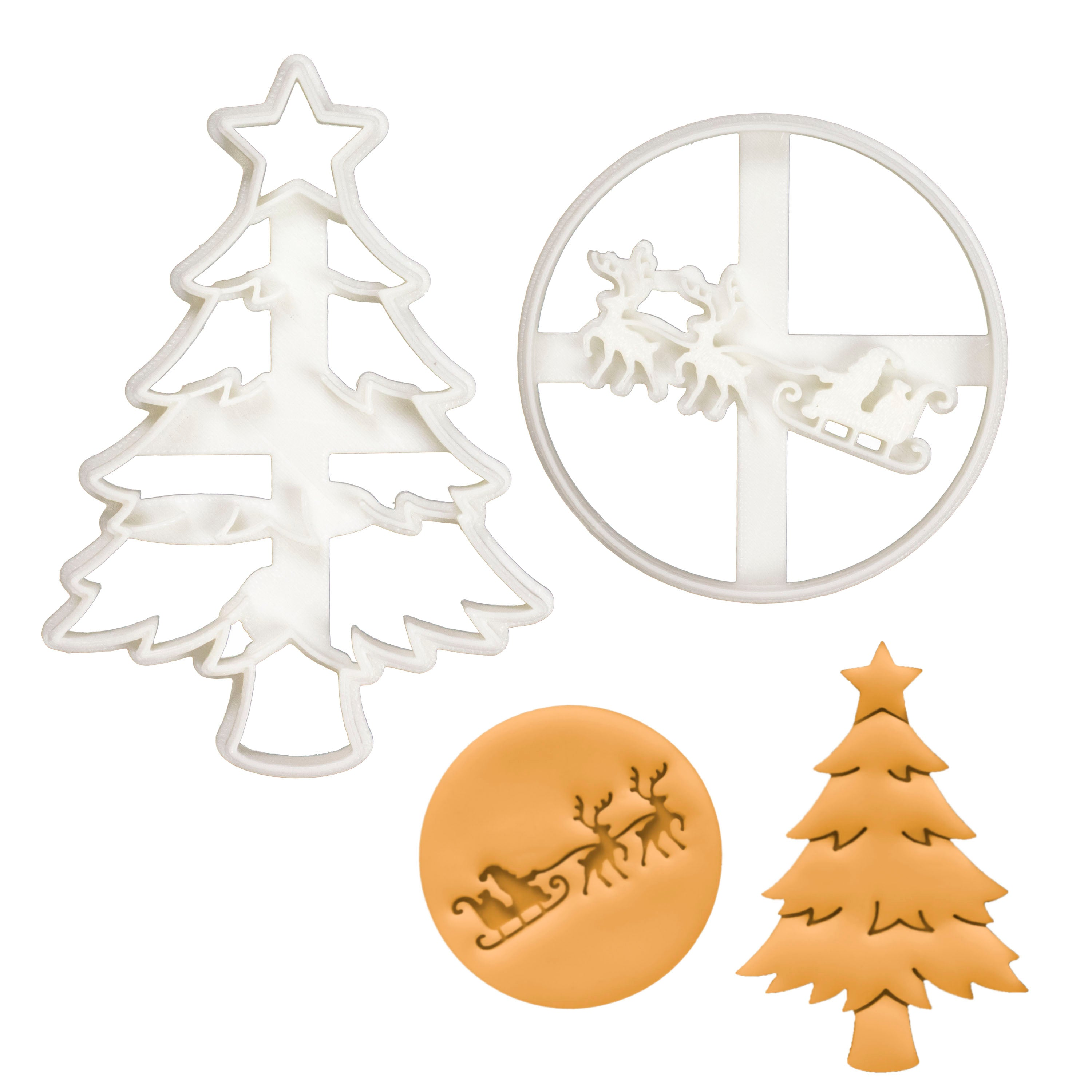 santa and reindeer, and christmas tree cookie cutters