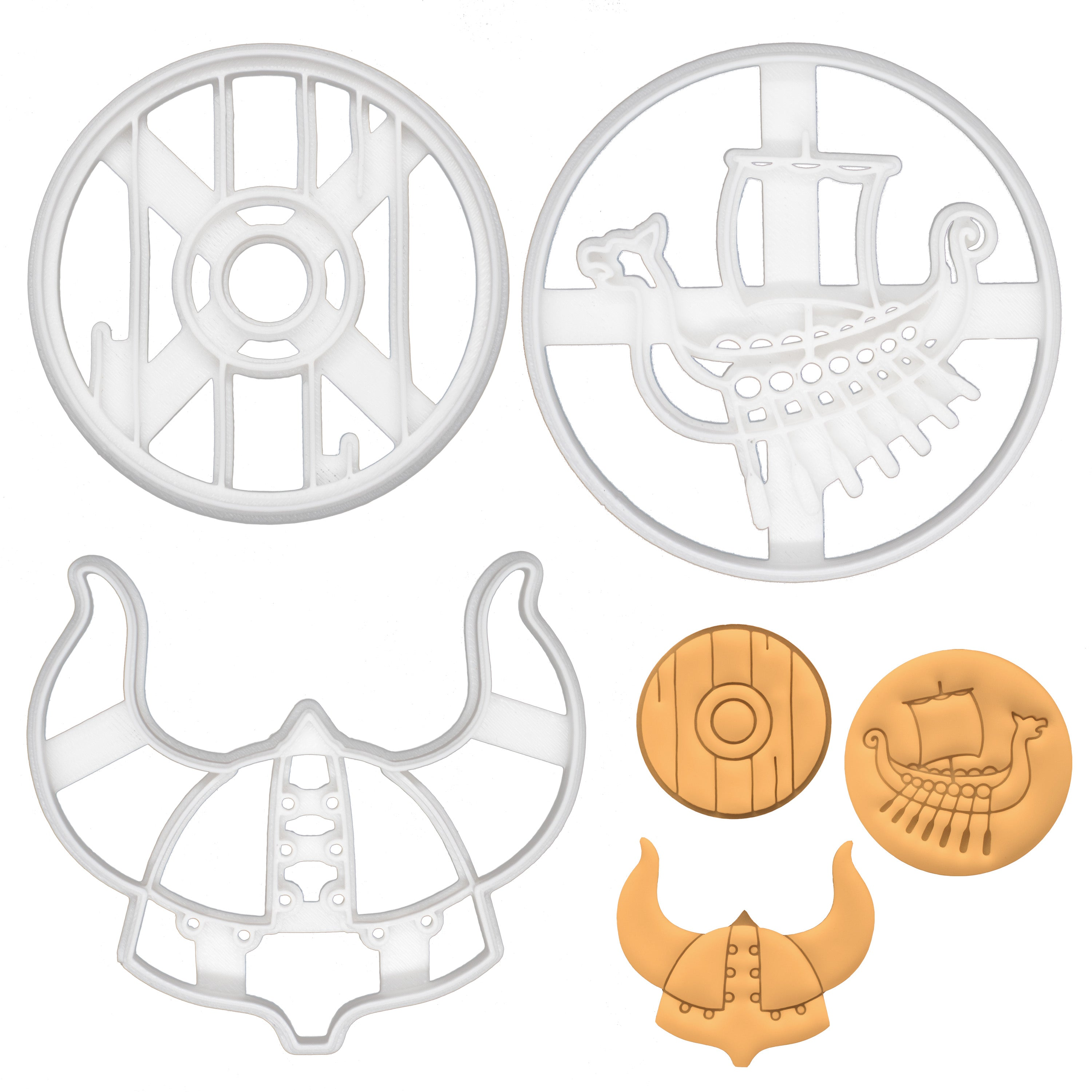 set of 3 viking theme cookie cutters - helmet, ship and shield